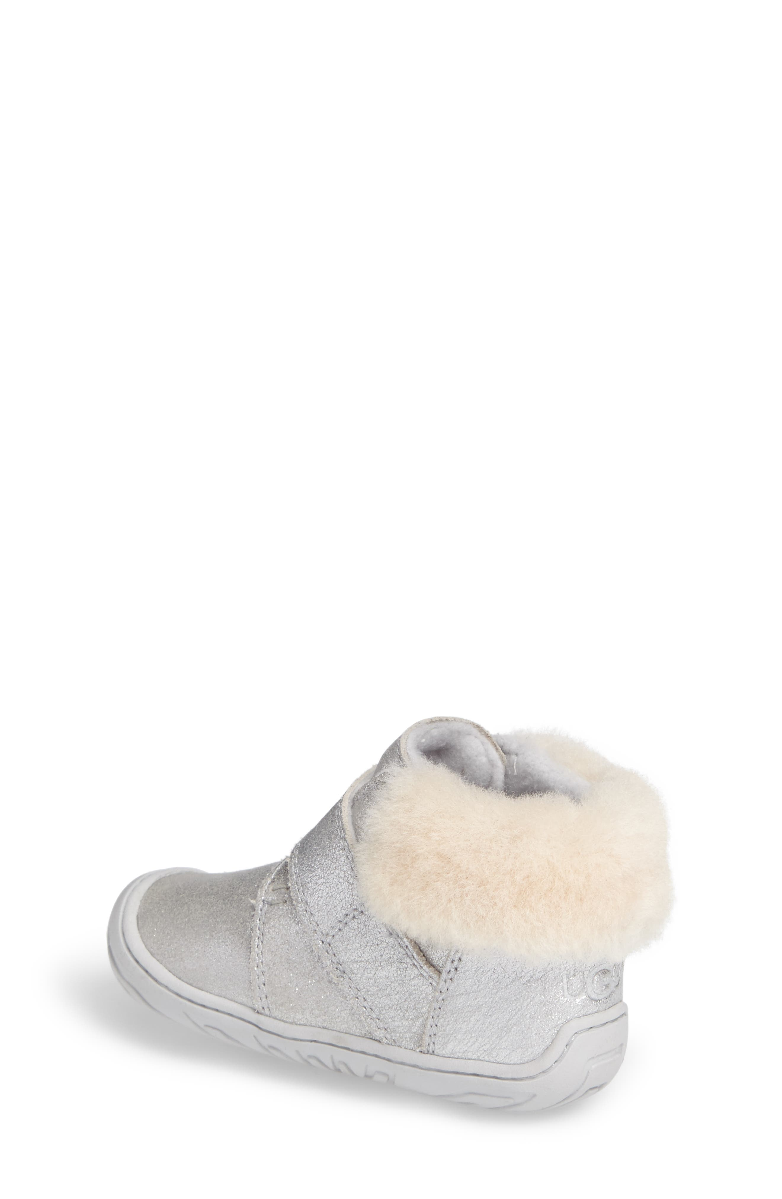 Jorgen Metallic Genuine Shearling Bootie,                             Alternate thumbnail 2, color,                             Silver