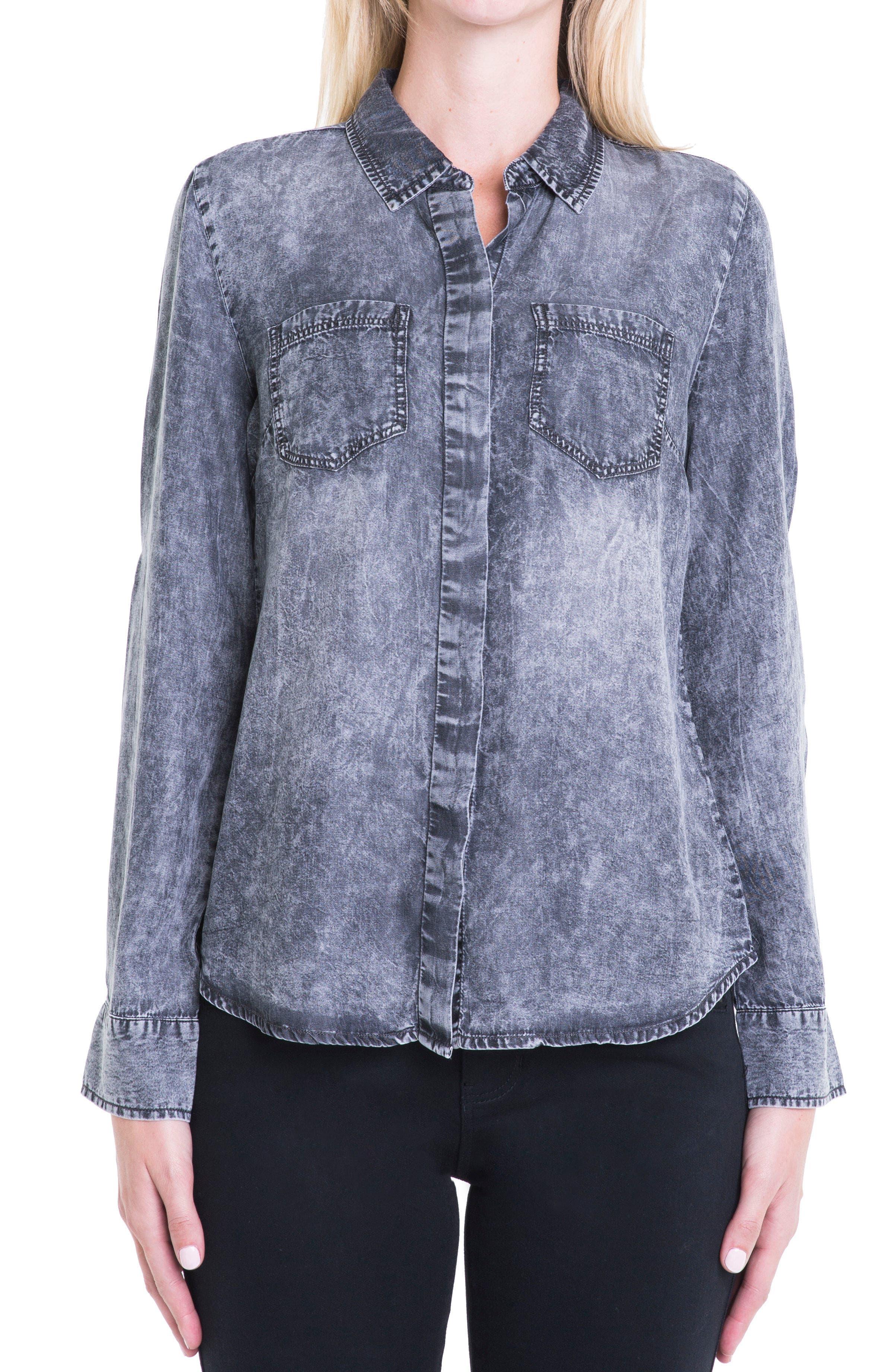 Button Back Chambray Shirt,                         Main,                         color, Carlsbad Acid