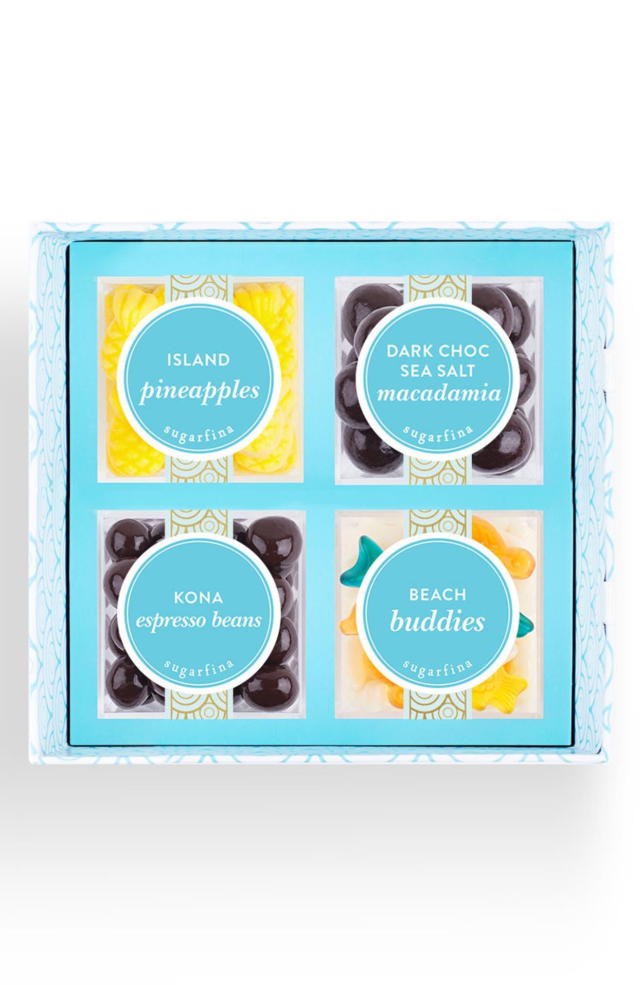 Aloha 4-Piece Candy Bento Box,                             Main thumbnail 1, color,                             Blue
