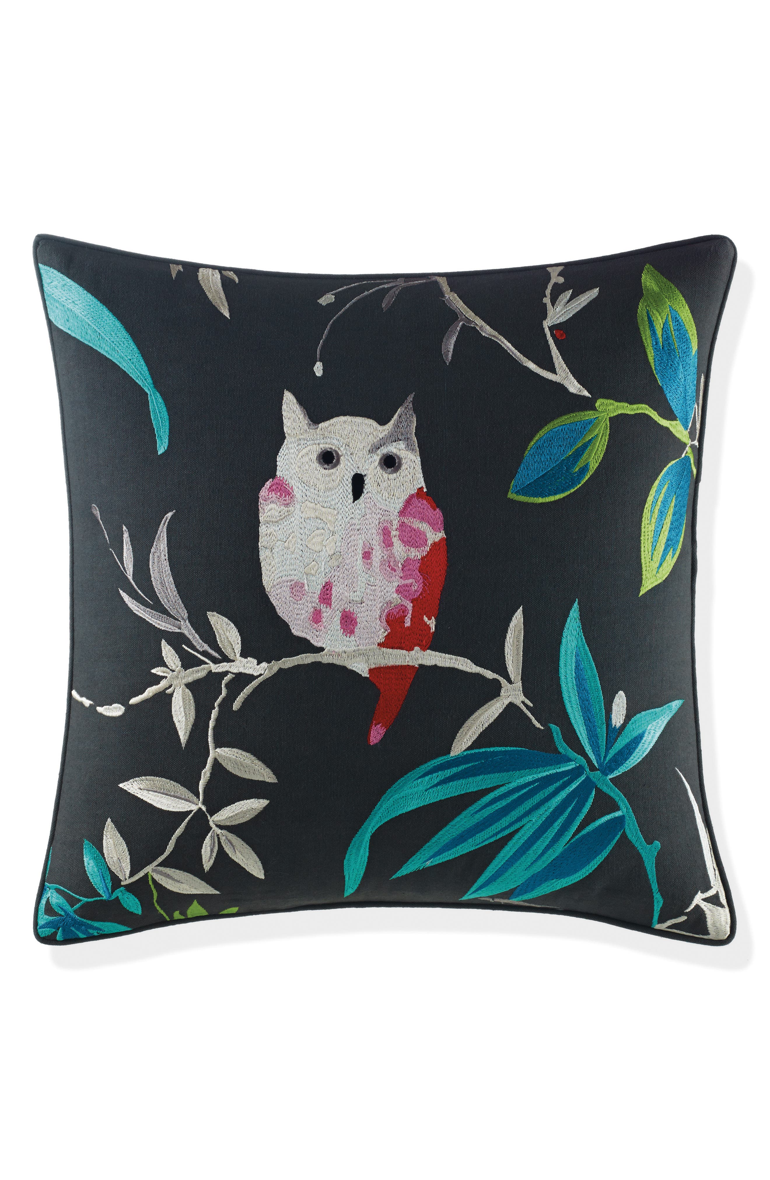 owl accent pillow,                             Main thumbnail 1, color,                             Black