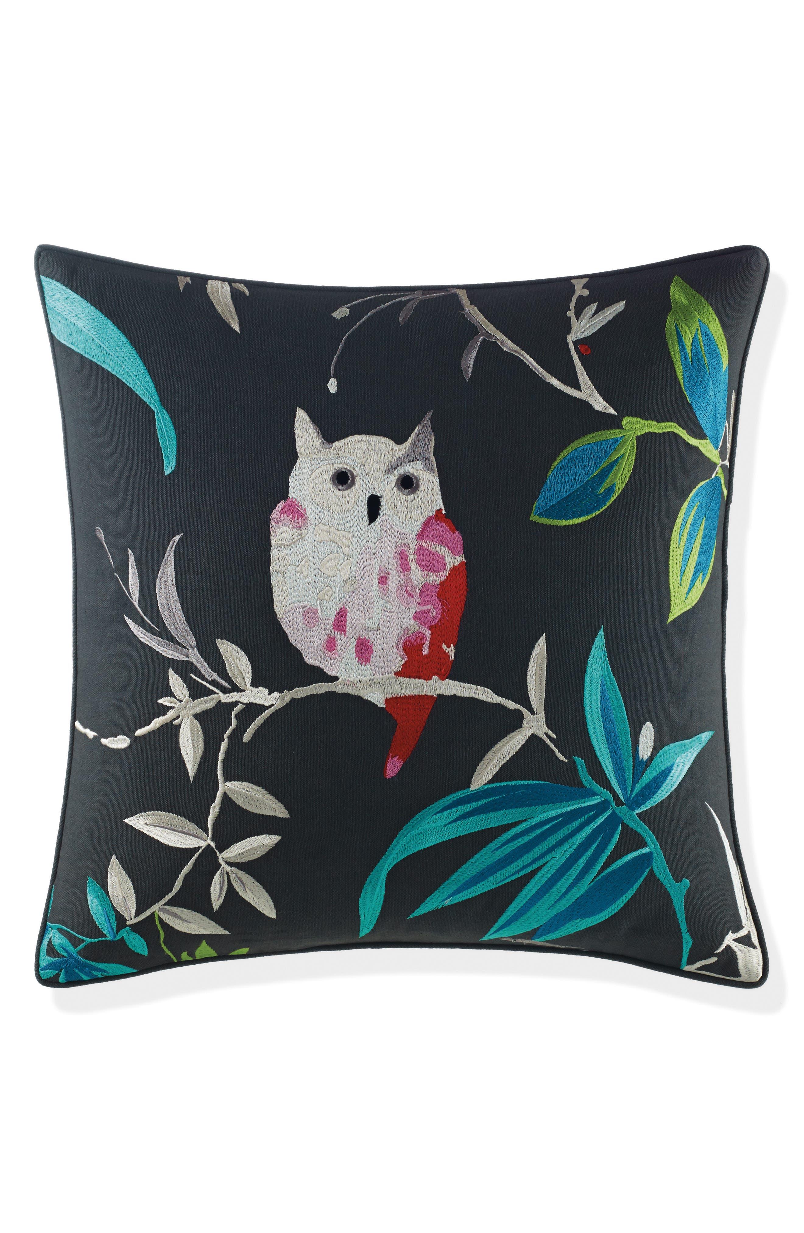 owl accent pillow,                         Main,                         color, Black
