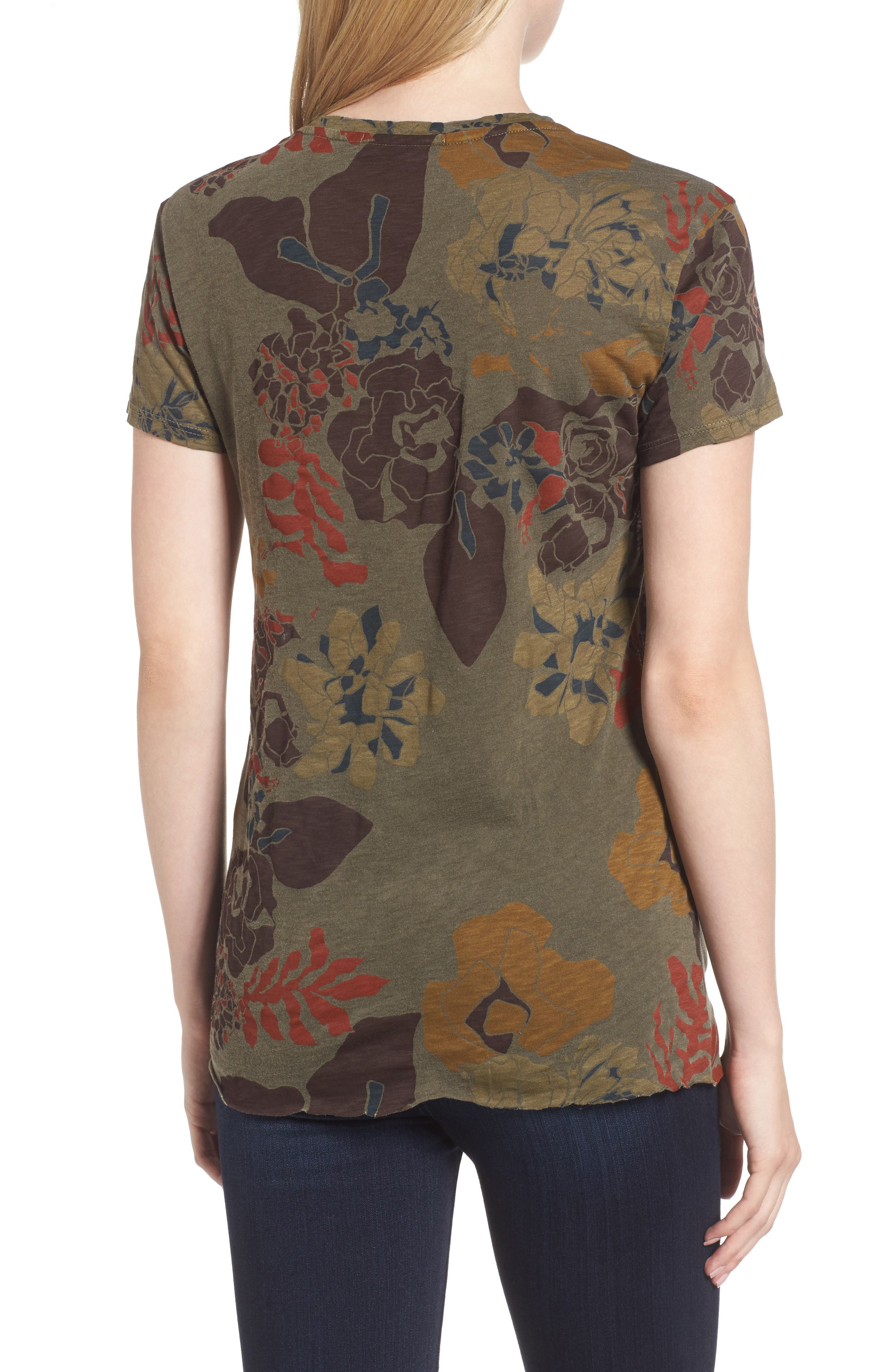 Floral Twist Front Tee,                             Alternate thumbnail 2, color,                             Fern