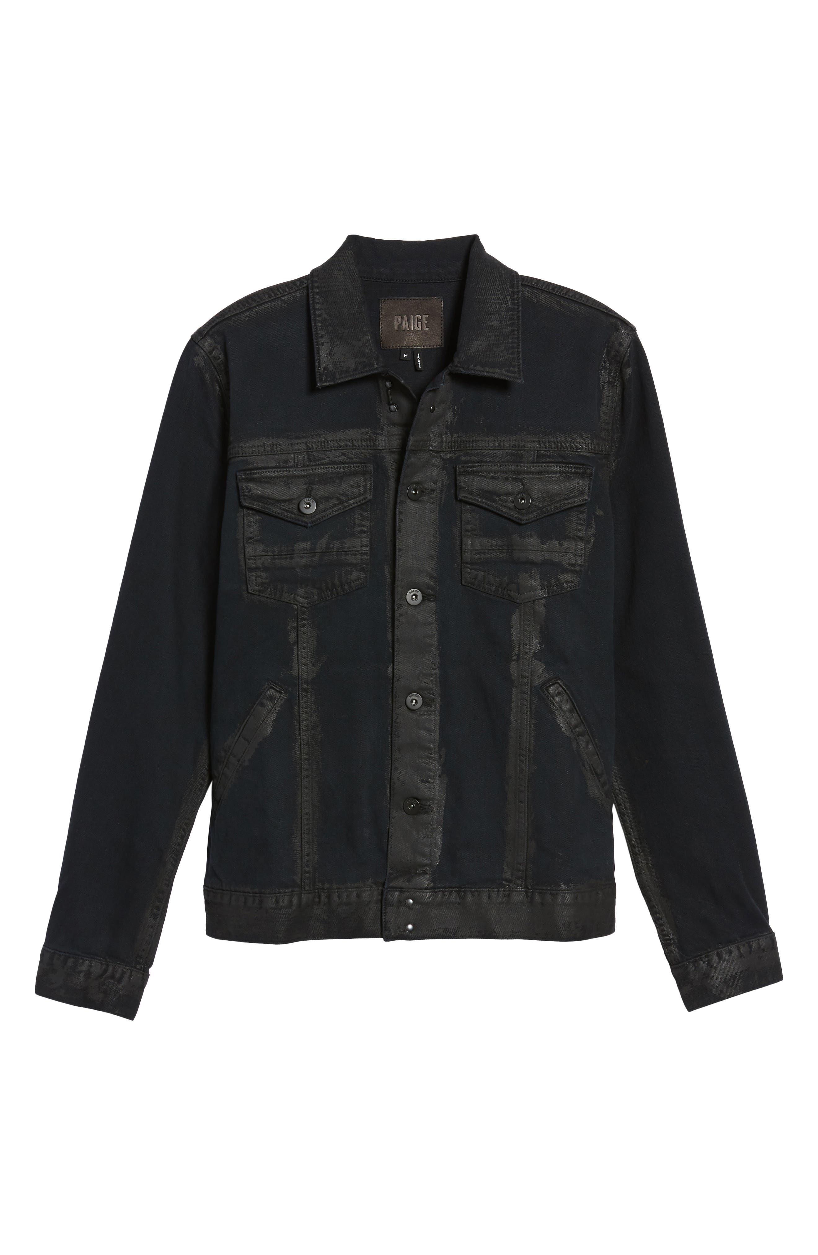 Scout Denim Jacket,                             Alternate thumbnail 6, color,                             Black Gold