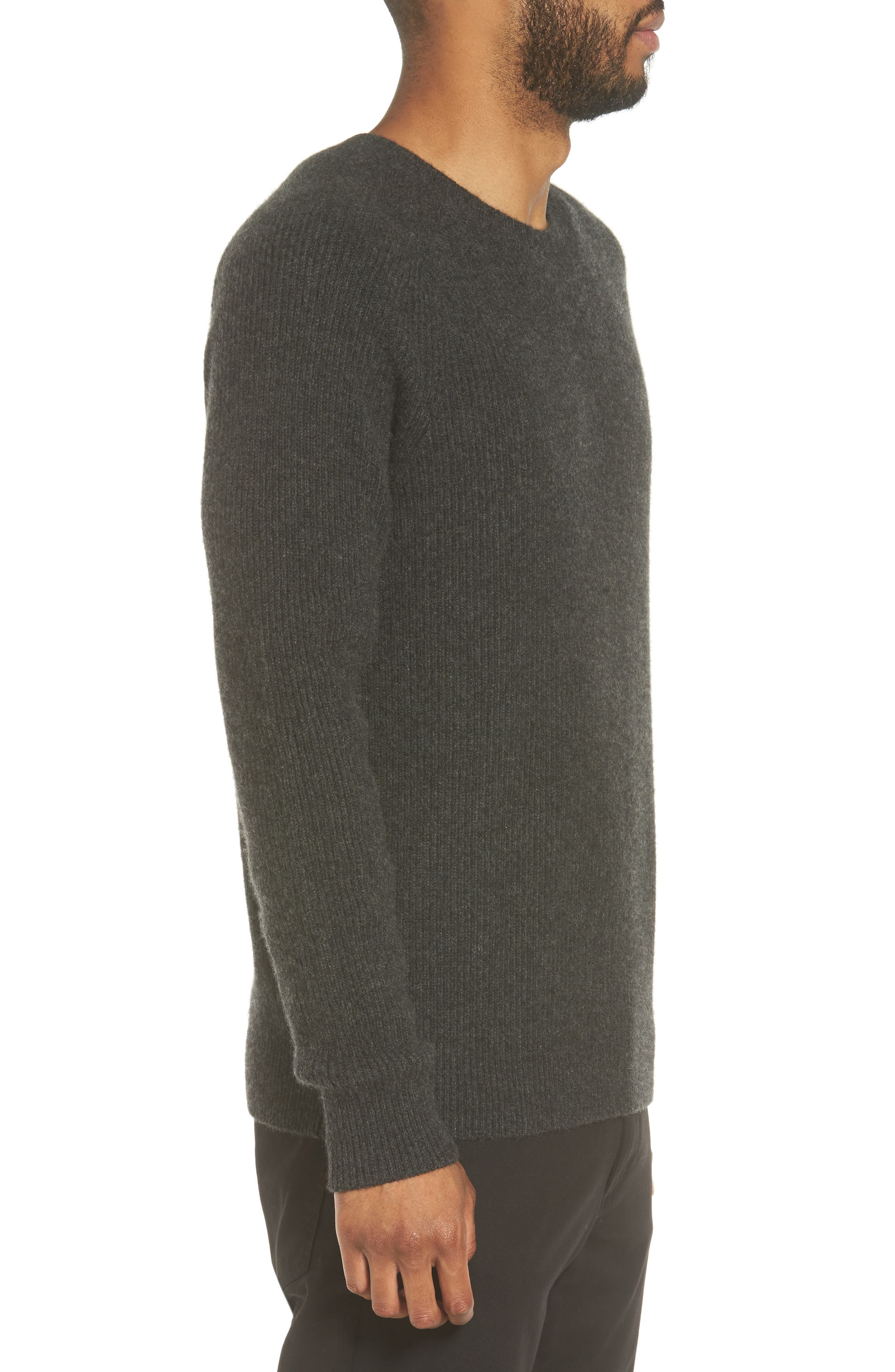 Ribbed Wool & Cashmere Raglan Sweater,                             Alternate thumbnail 3, color,                             Heather Carbon