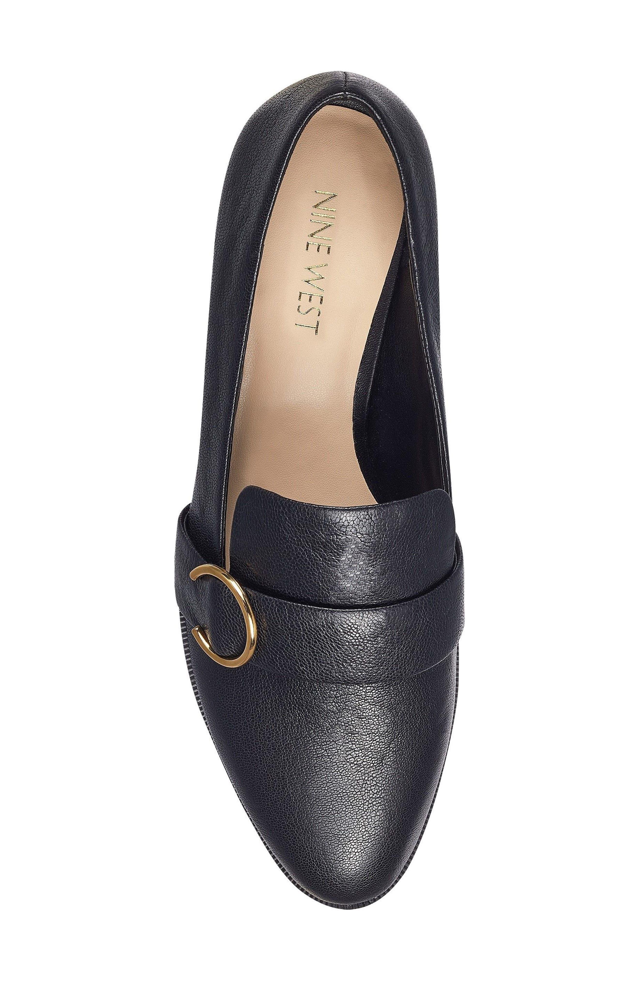 Huff Loafer Flat,                             Alternate thumbnail 5, color,                             Black Leather