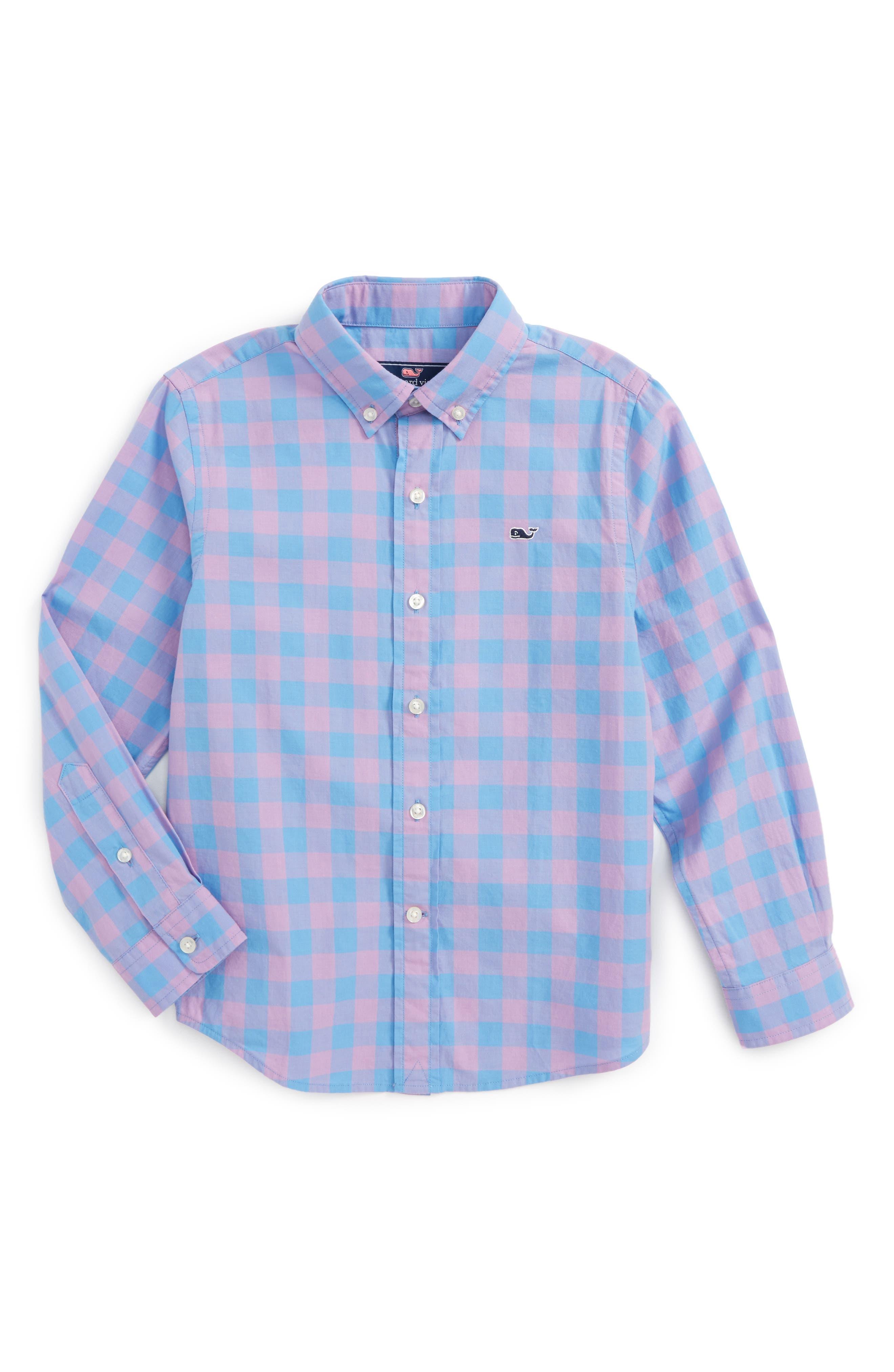 Vineyard Vines Deep Hollow Check Whale Shirt (Toddler Boys, Little Boys & Big Boys)