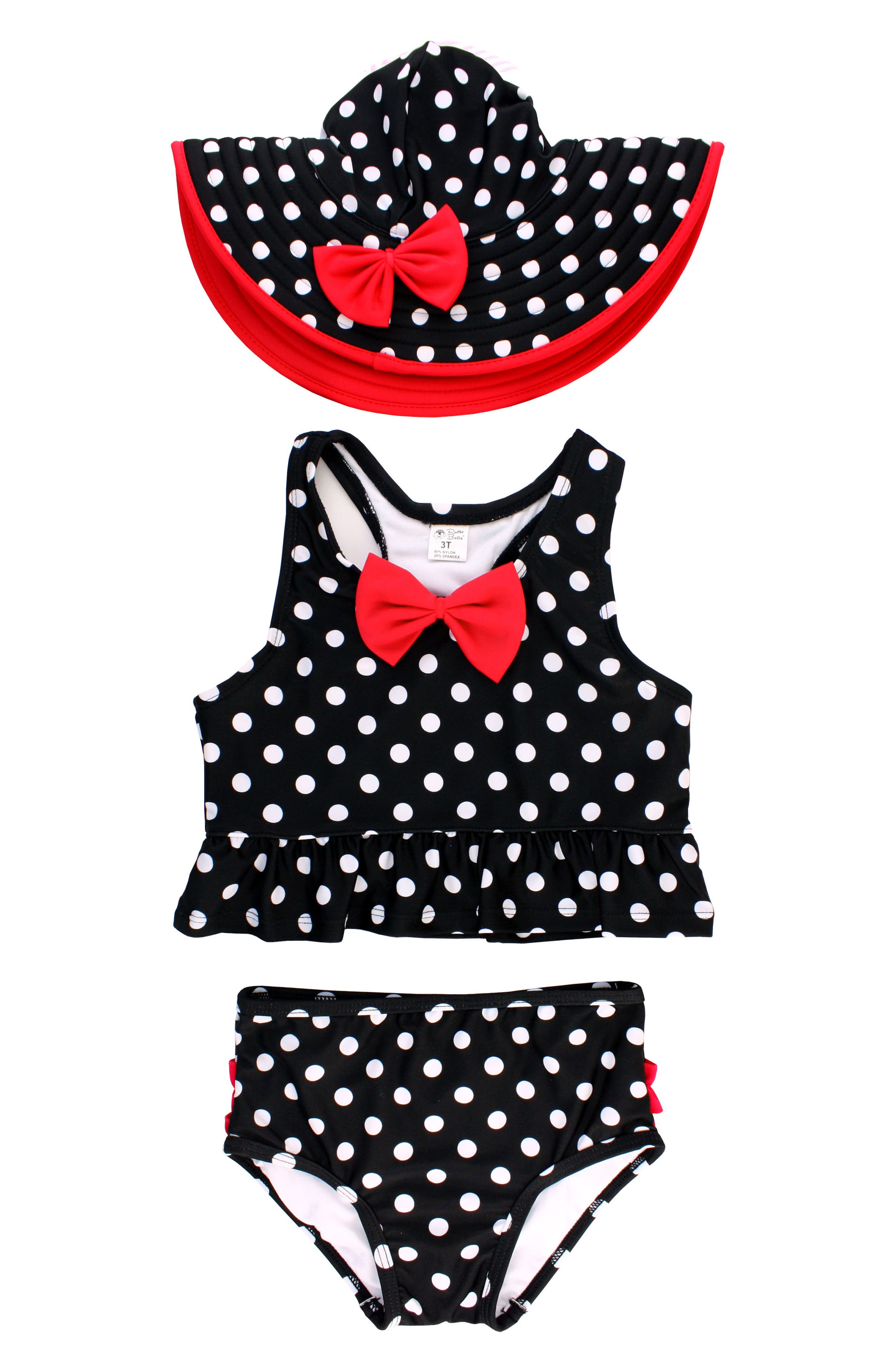 Vintage Bow Peplum Two-Piece Tankini Swimsuit & Hat Set,                         Main,                         color, Black