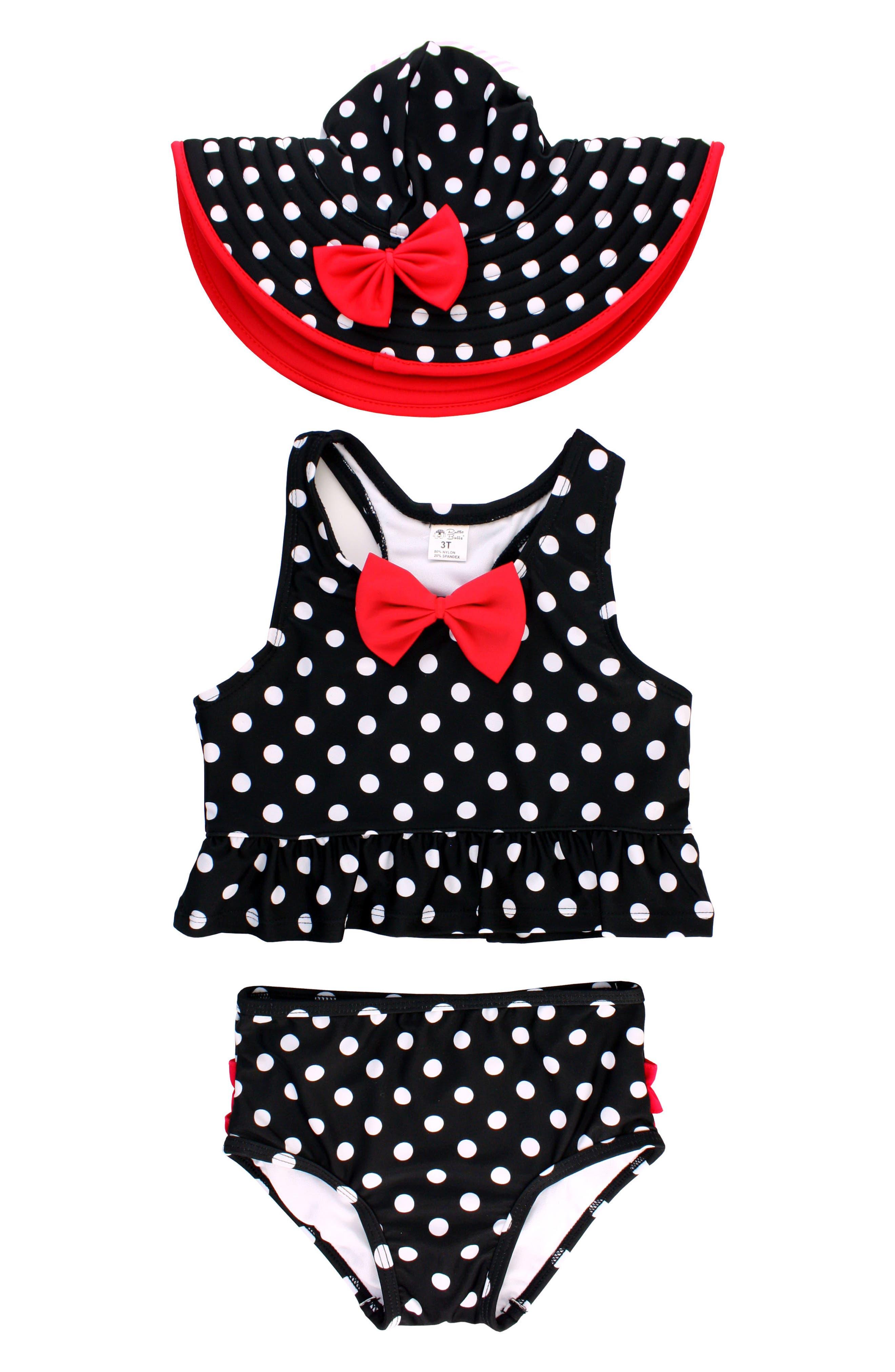 RuffleButts Vintage Bow Peplum Two-Piece Tankini Swimsuit & Hat Set (Toddler Girls & Little Girls)