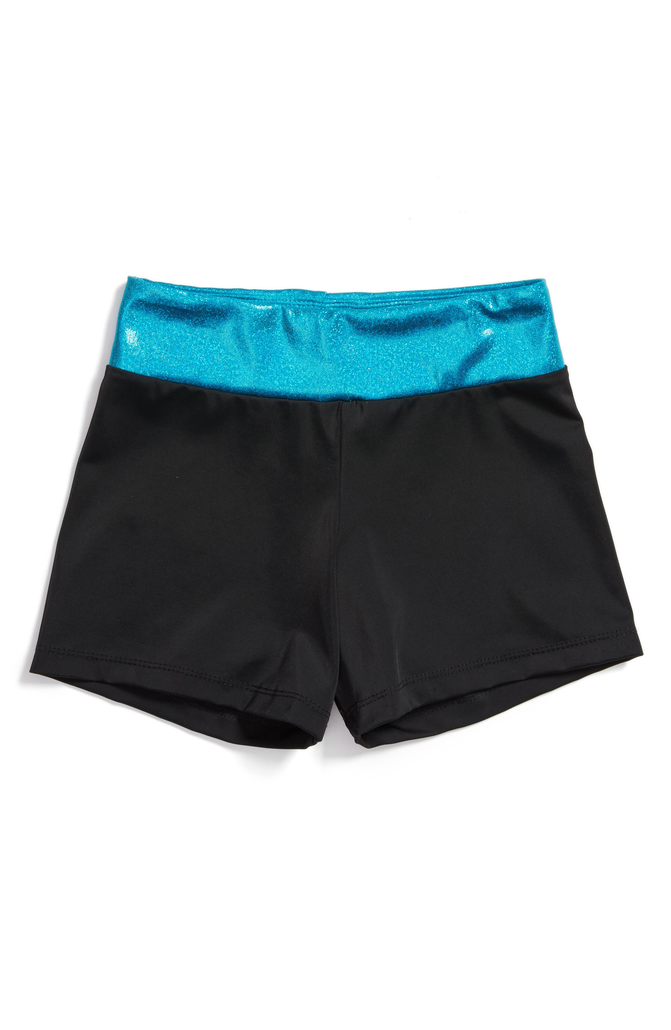 Unicorn Love Stretch Shorts,                         Main,                         color, Black/ Turquoise