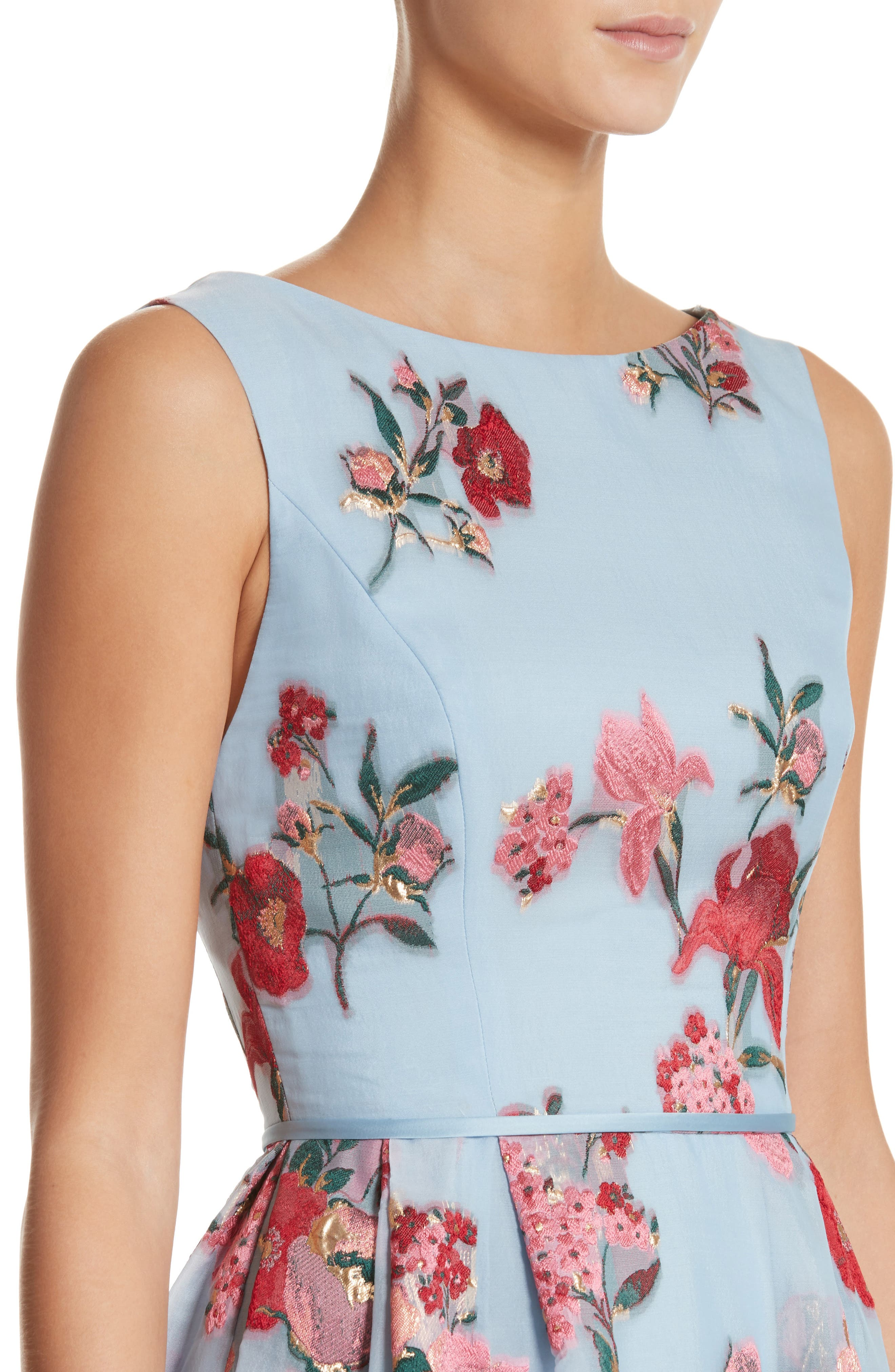 Alternate Image 4  - Carolina Herrera Embroidered Floral Fit & Flare Dress