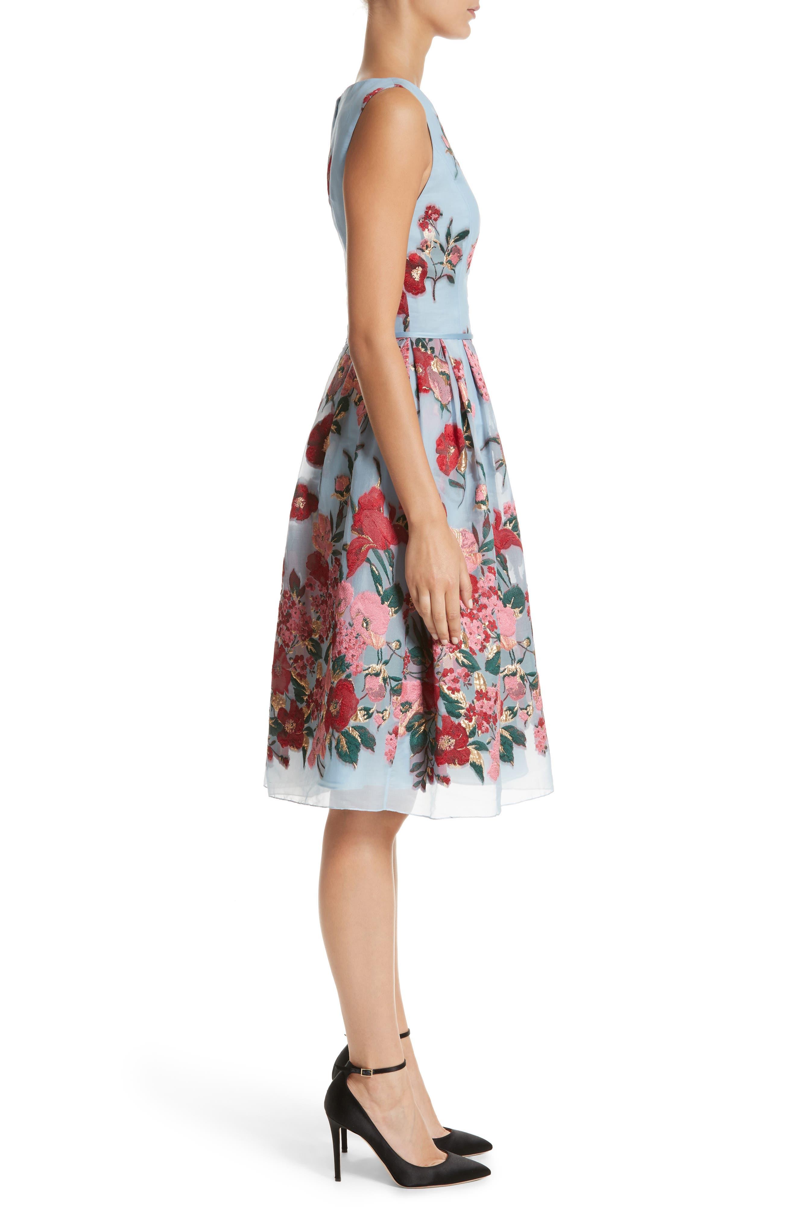 Alternate Image 3  - Carolina Herrera Embroidered Floral Fit & Flare Dress