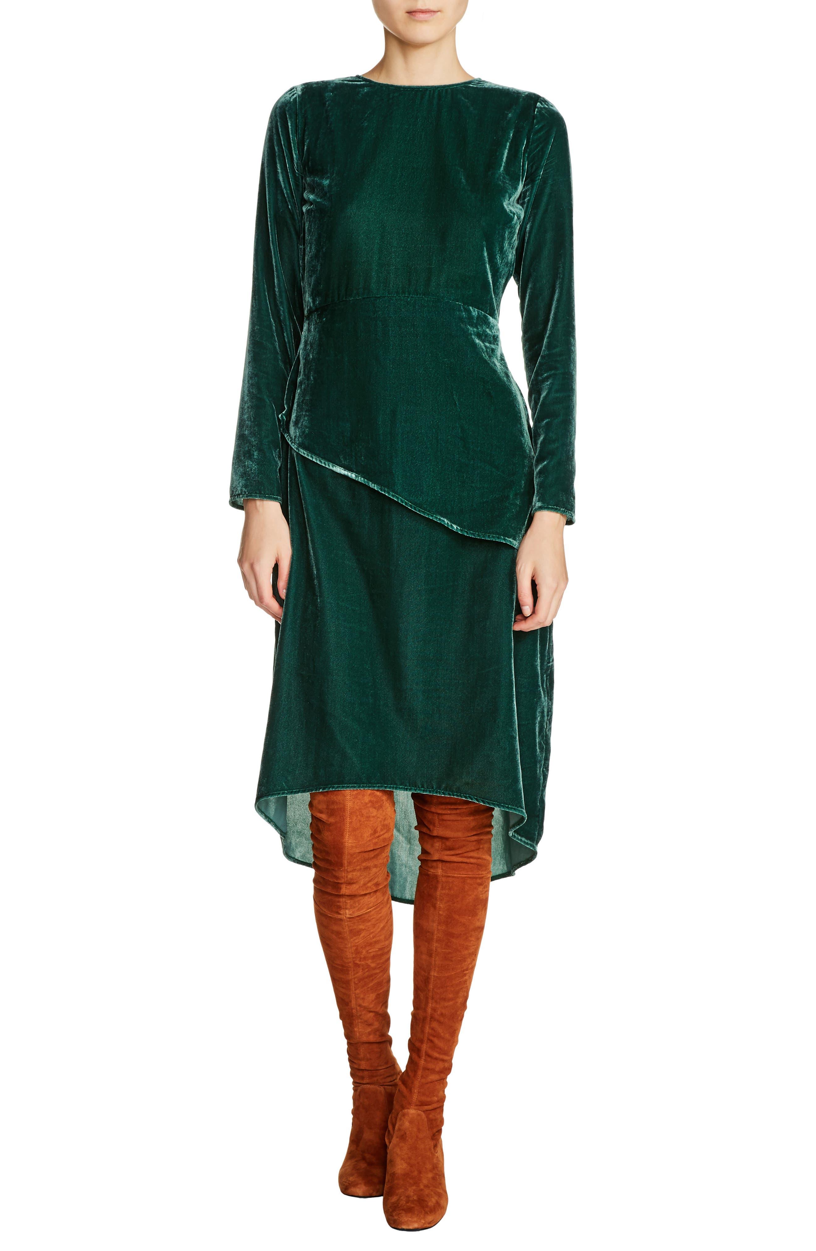 Elliptical Hem Velvet Peplum Dress,                         Main,                         color, Green