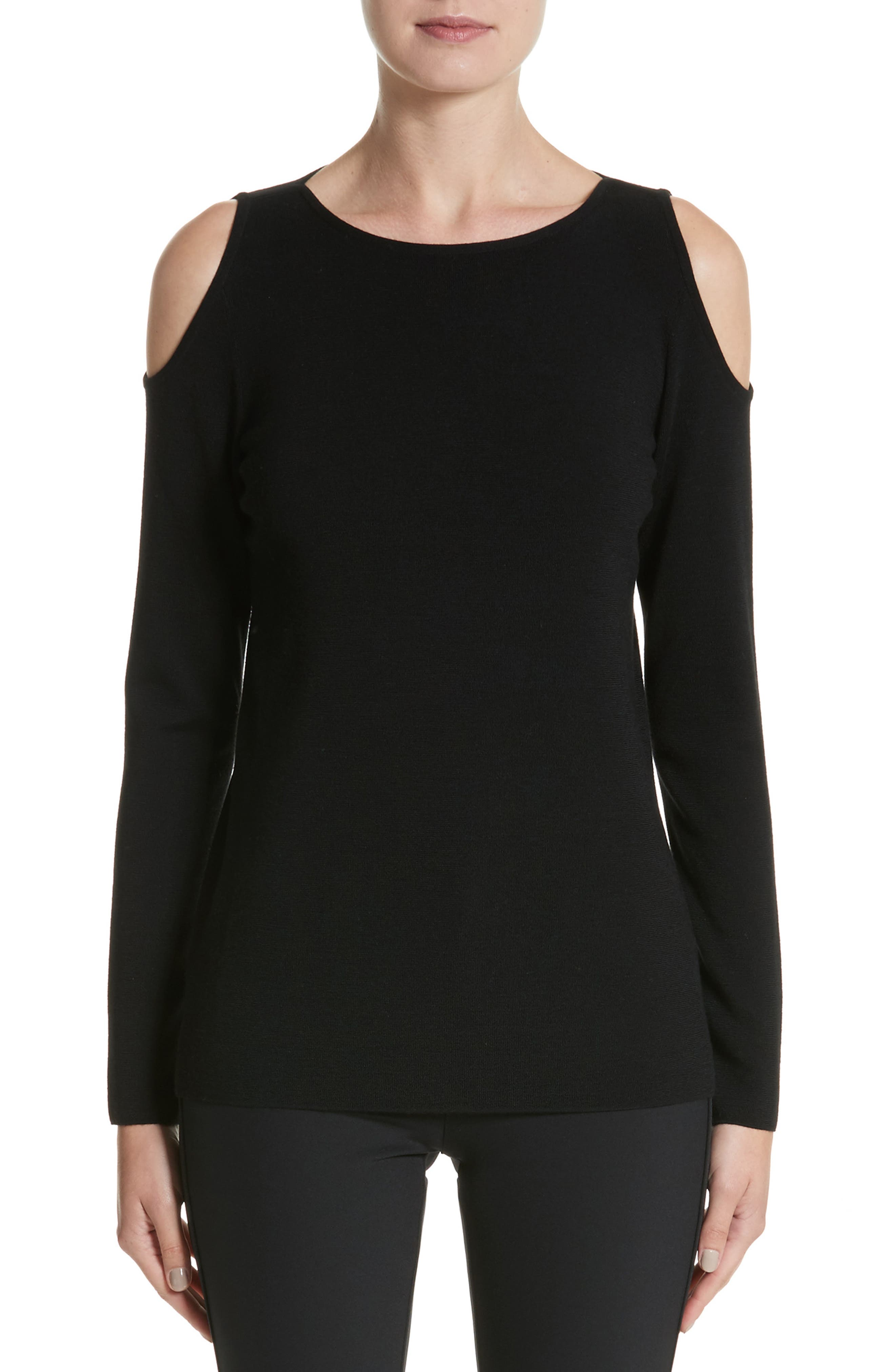 Main Image - Lafayette 148 New York Wool Cold Shoulder Sweater