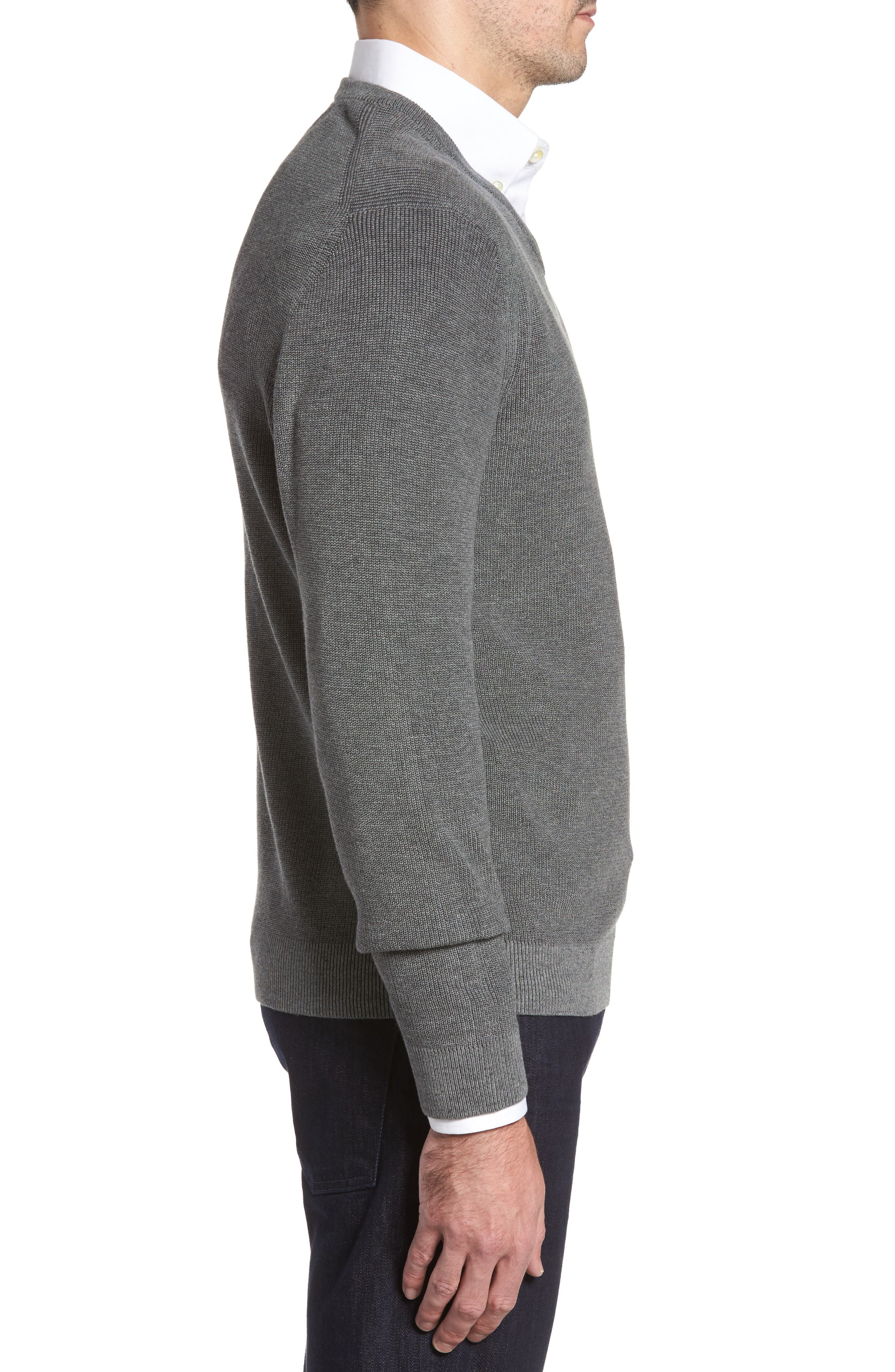 Las Palmas Reversible Sweater,                             Alternate thumbnail 3, color,                             Charcoal Heather