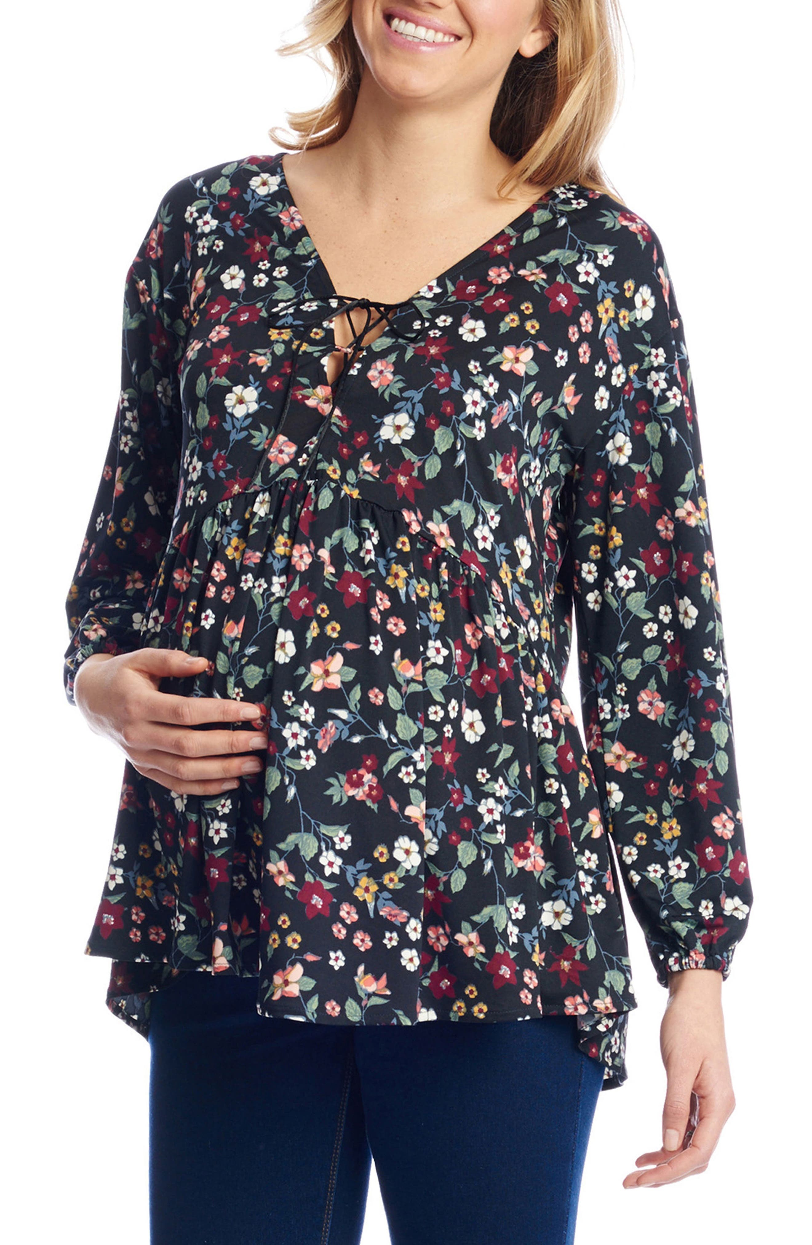 Victoria Lace-Up Maternity Top,                         Main,                         color, Berry Floral