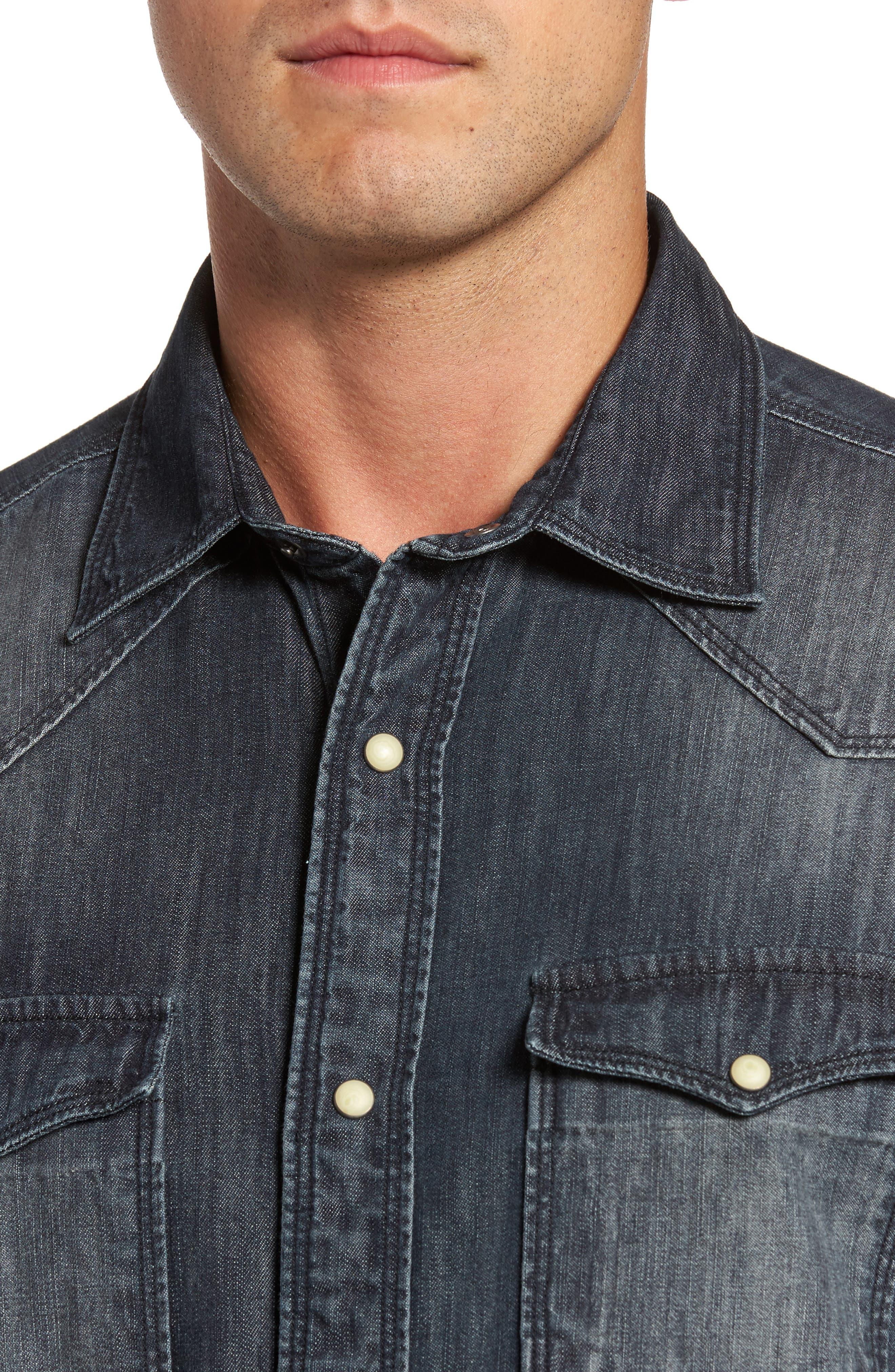 Alternate Image 4  - FLYNT Regular Fit Denim Western Shirt