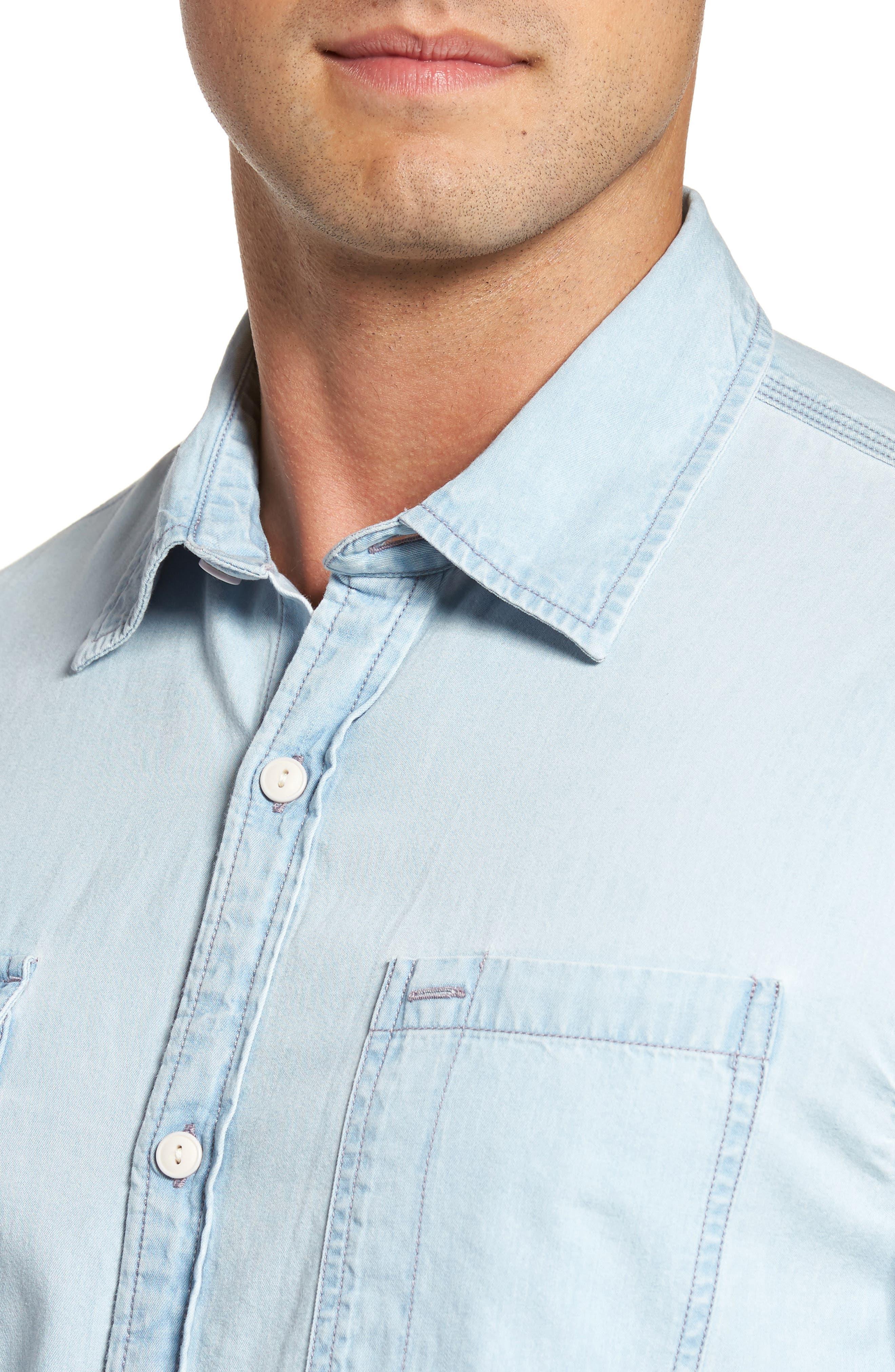 Regular Denim Sport Shirt,                             Alternate thumbnail 4, color,                             Light Blue