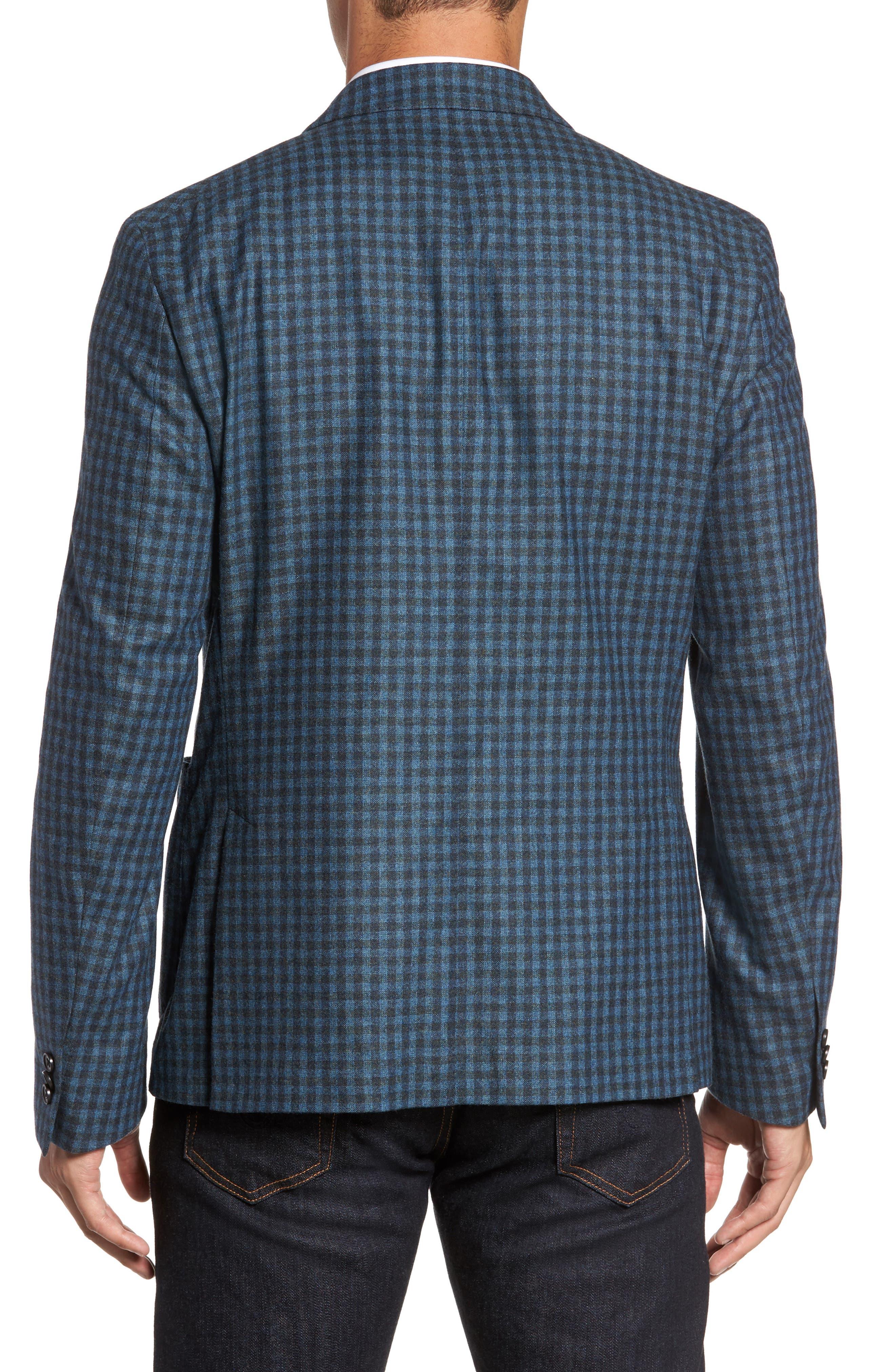Check Wool Sport Coat,                             Alternate thumbnail 2, color,                             Blue
