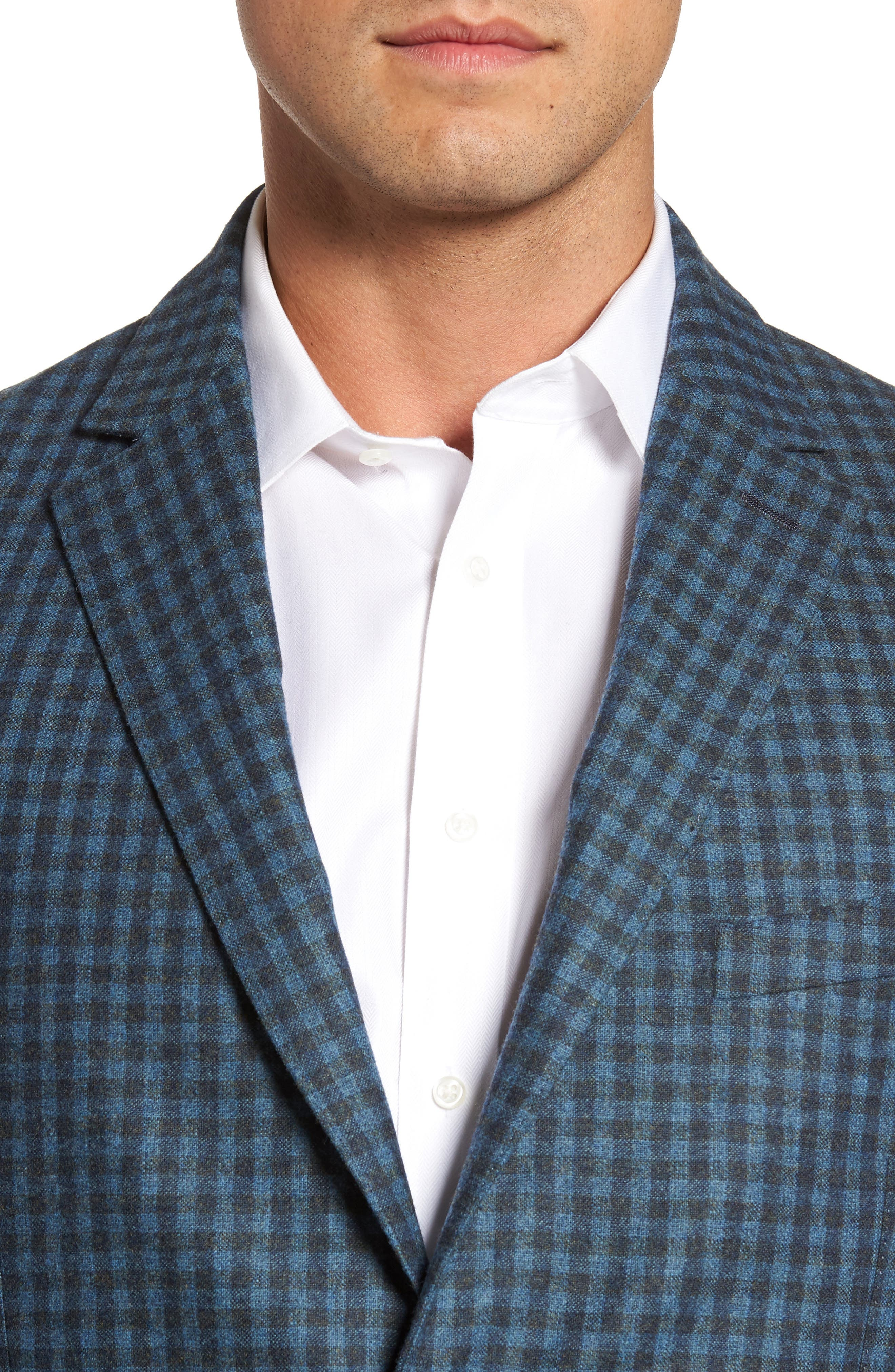 Check Wool Sport Coat,                             Alternate thumbnail 4, color,                             Blue