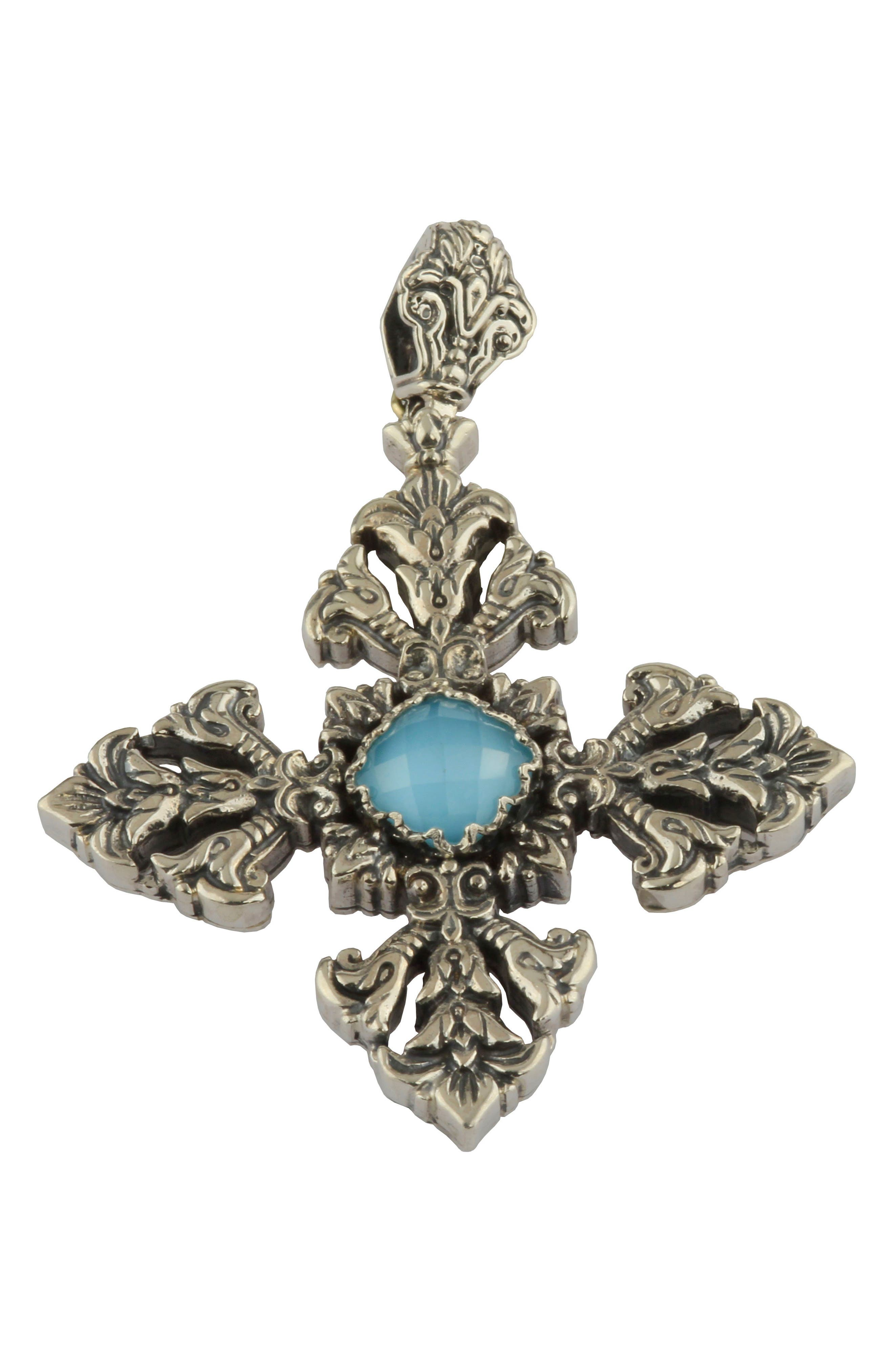 Aegean Large Cross Pendant,                             Main thumbnail 1, color,                             Silver/ Turquoise