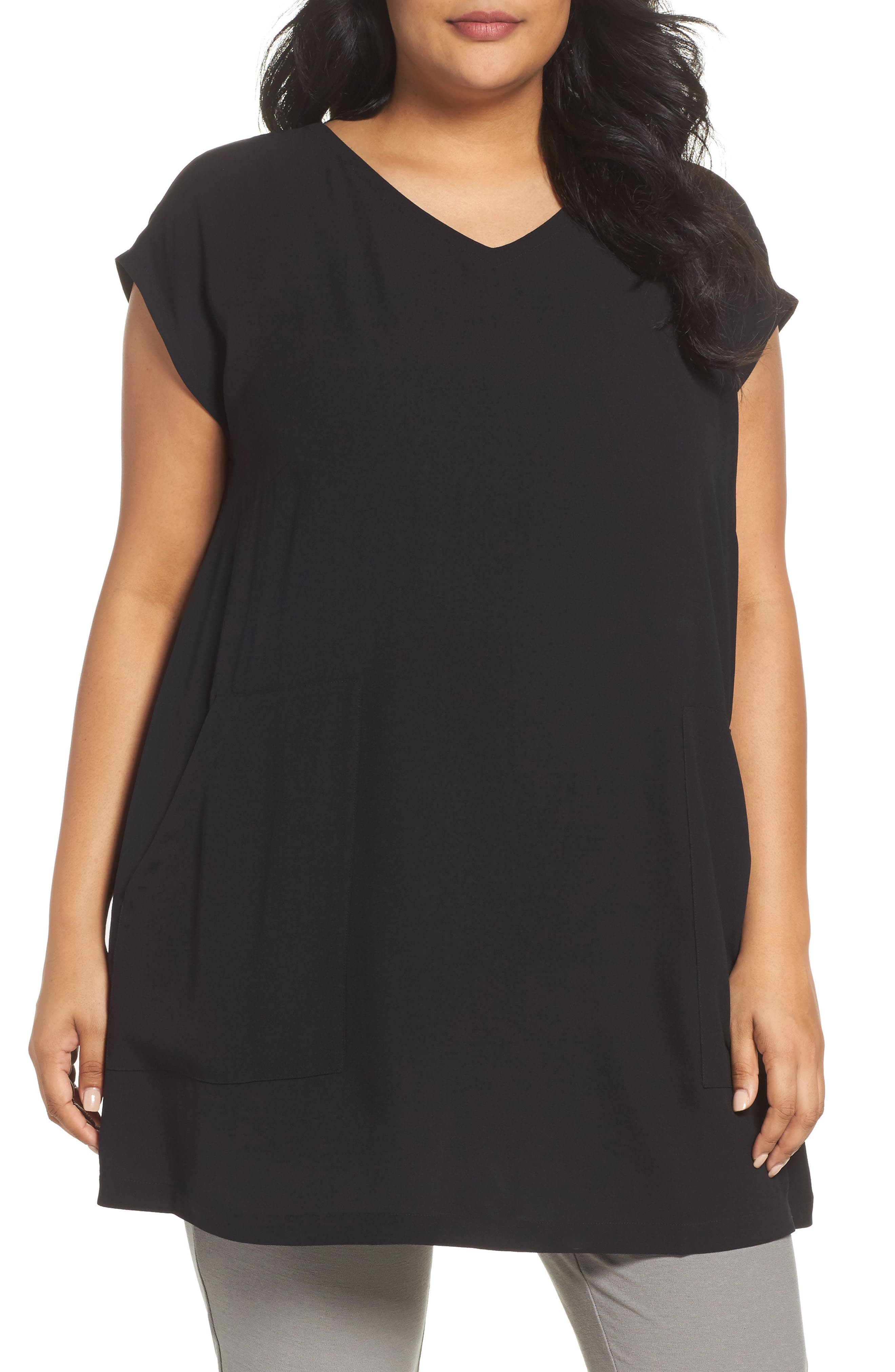 Eileen Fisher Silk V-Neck Tunic (Plus Size)