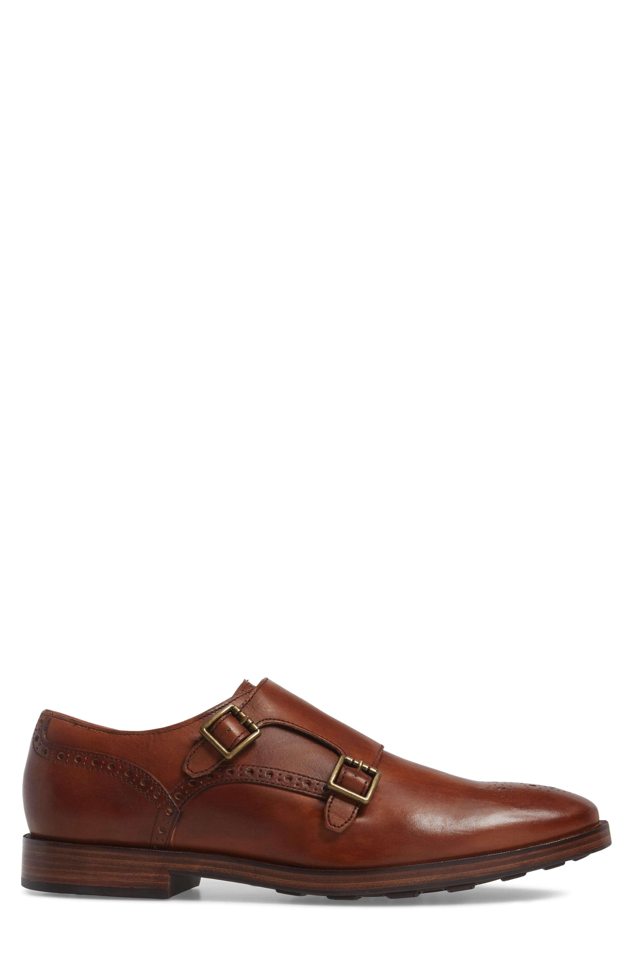 Hamilton Double Monk Strap Shoe,                             Alternate thumbnail 3, color,                             British Tan Leather