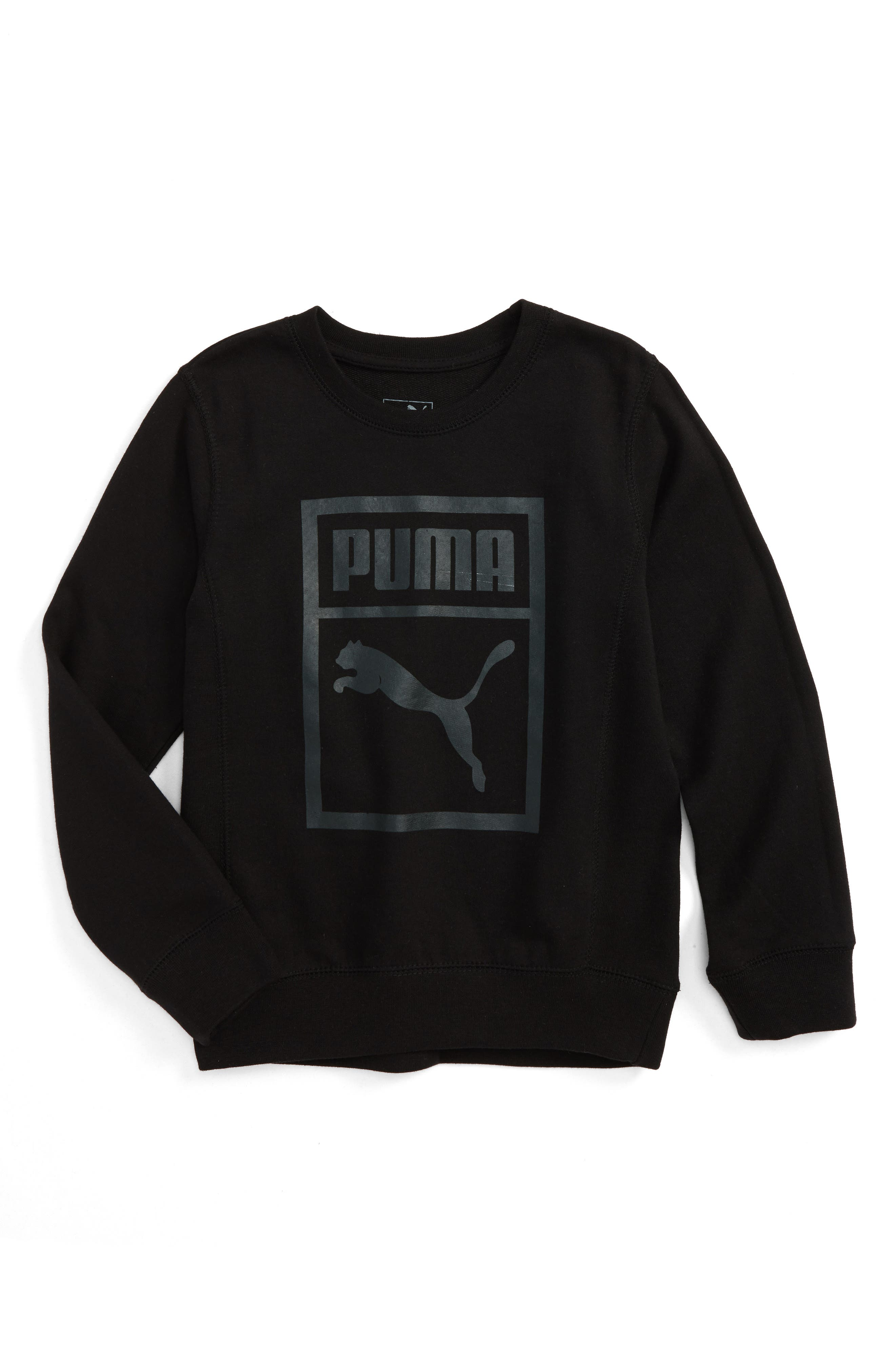 Heritage Logo Crewneck Sweatshirt,                         Main,                         color, Puma Black