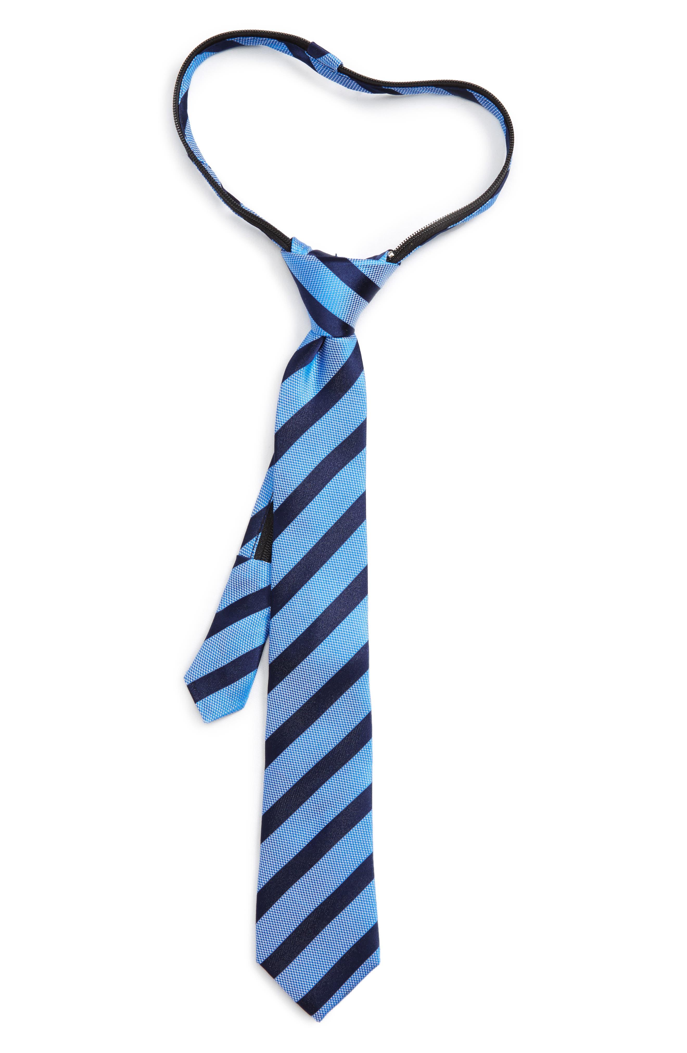 Stripe Silk Zip Tie,                         Main,                         color, Royal