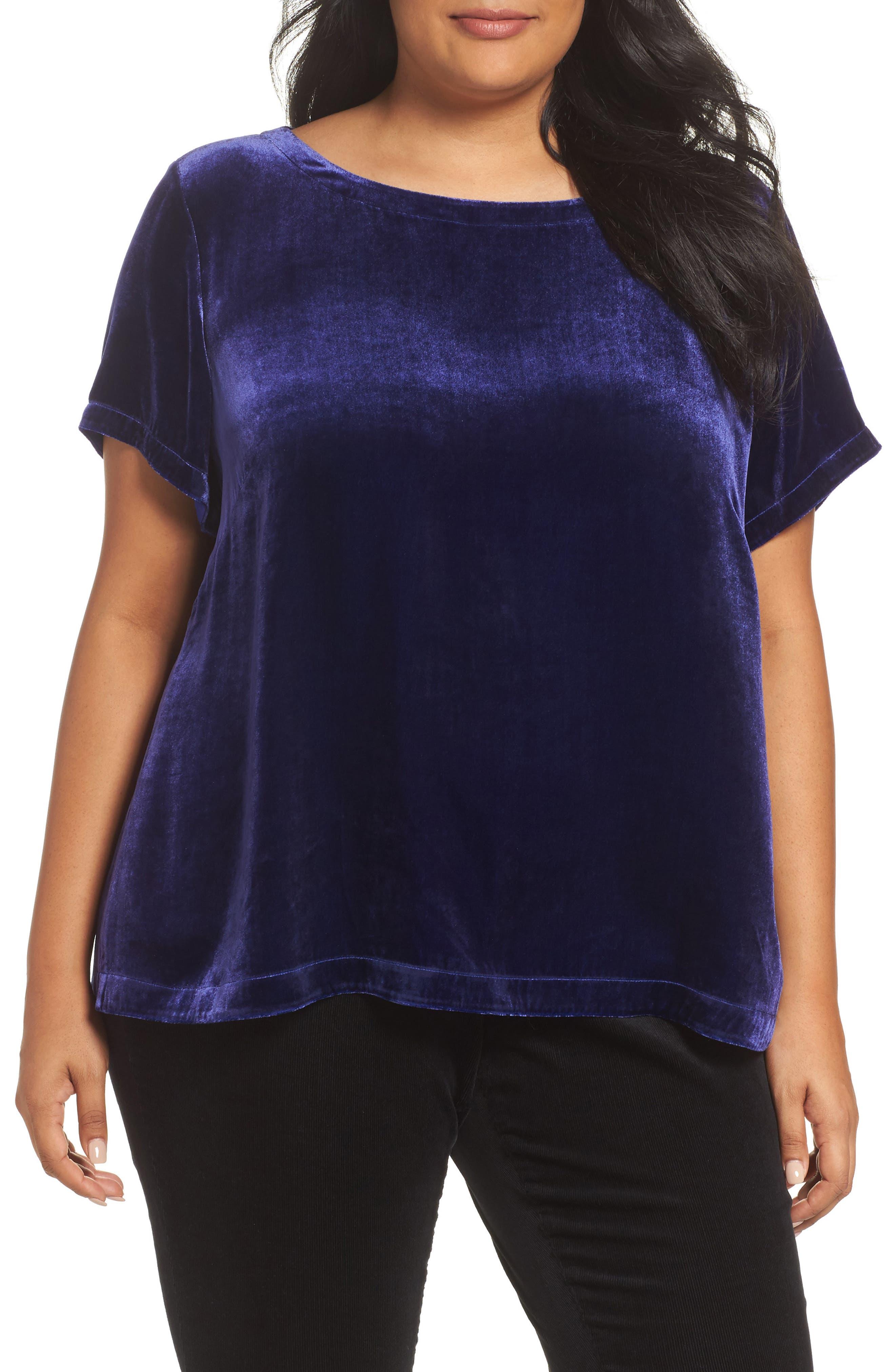 Alternate Image 1 Selected - Eileen Fisher Velvet Top (Plus Size)