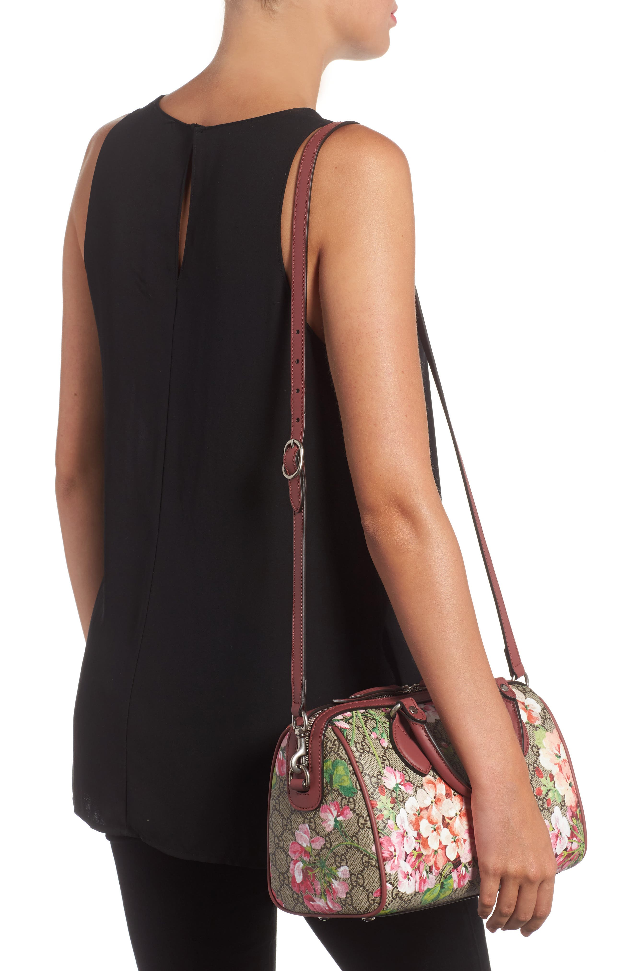Small Blooms Top Handle GG Supreme Canvas Bag,                             Alternate thumbnail 2, color,                             Multi/Dry Rose