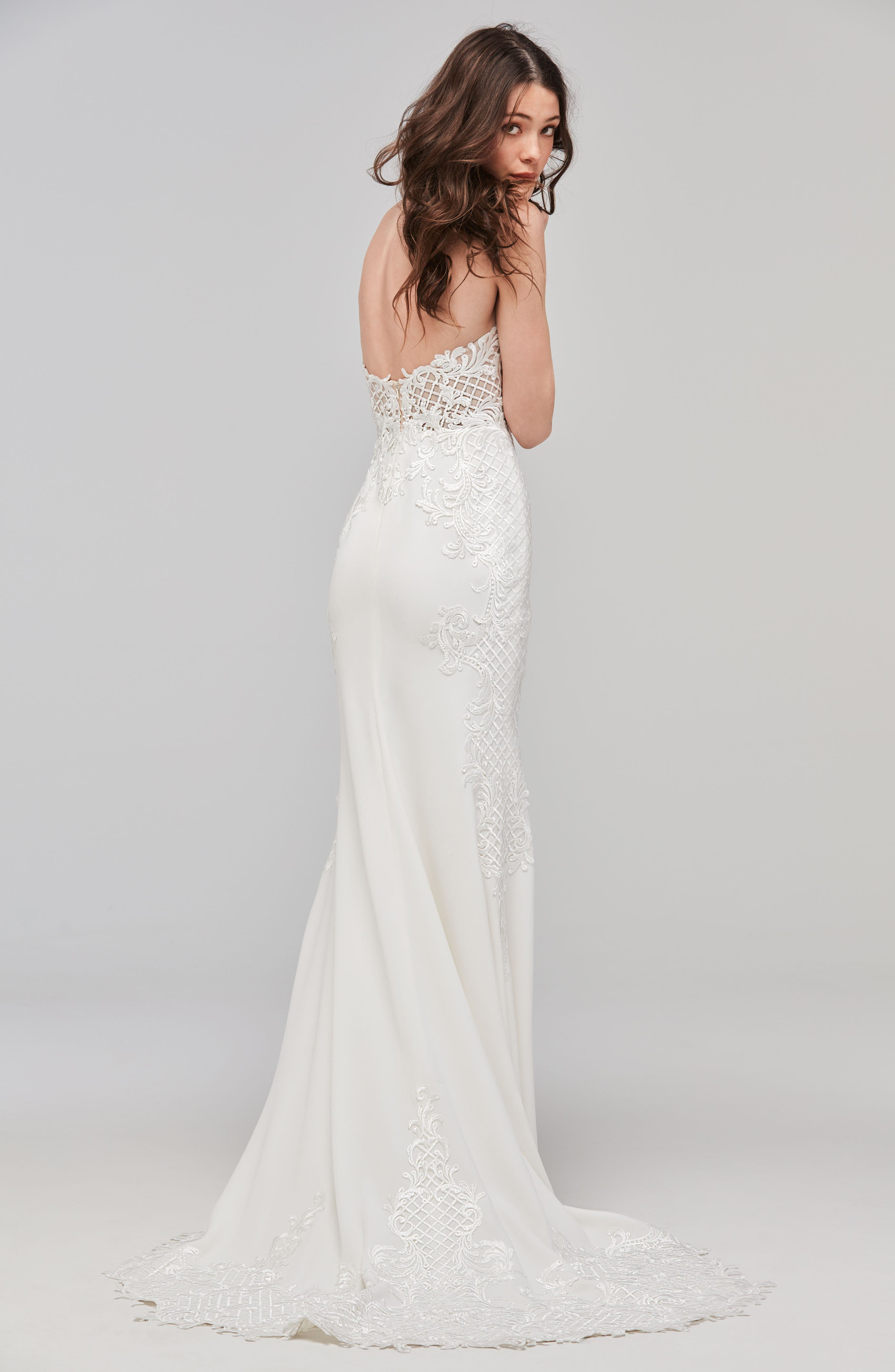 Haizea Strapless Lace & Crepe Gown,                             Alternate thumbnail 2, color,                             Ivory