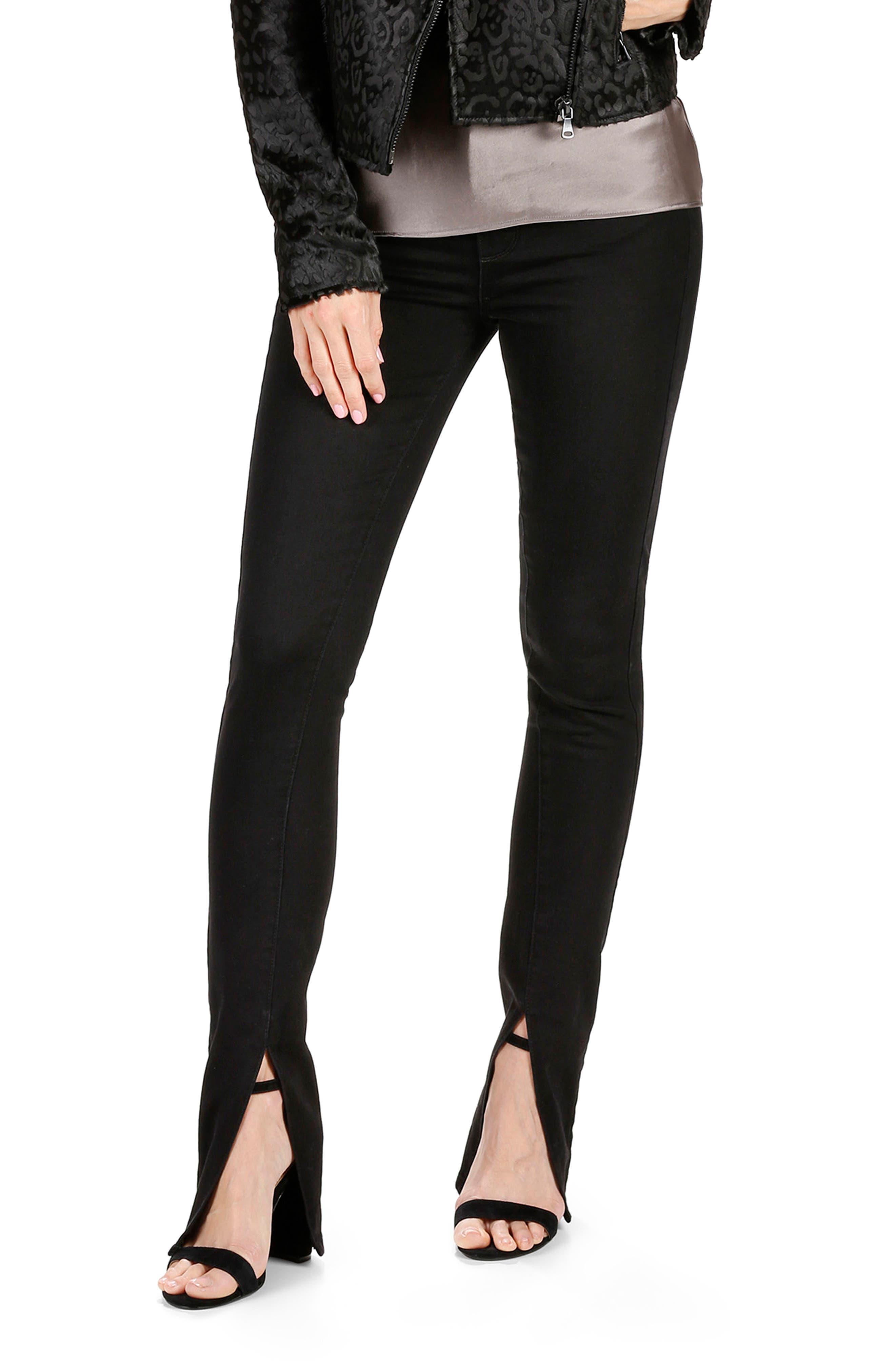 Alternate Image 3  - Rosie HW x PAIGE Constance Skinny Jeans (Onyx)