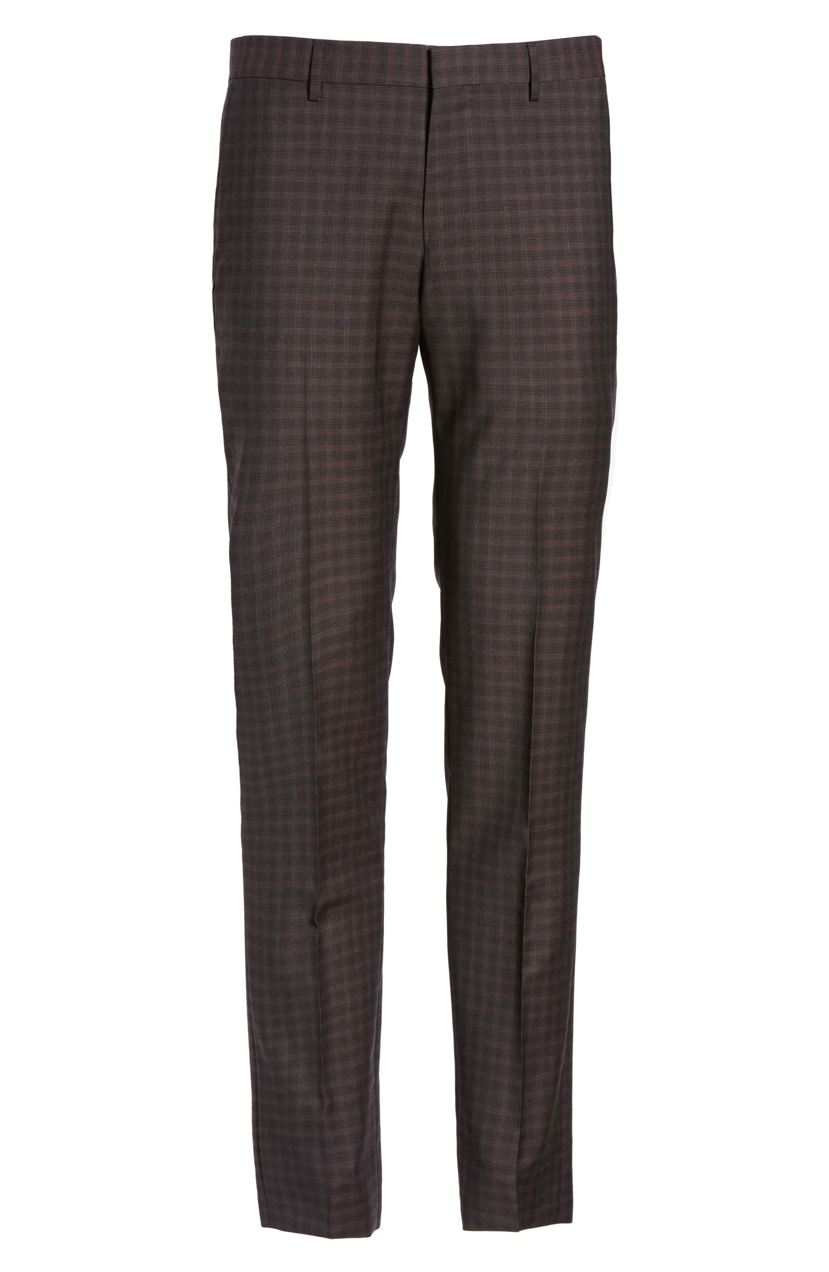 Benso Regular Fit Wool Trousers,                             Alternate thumbnail 6, color,                             Dark Red