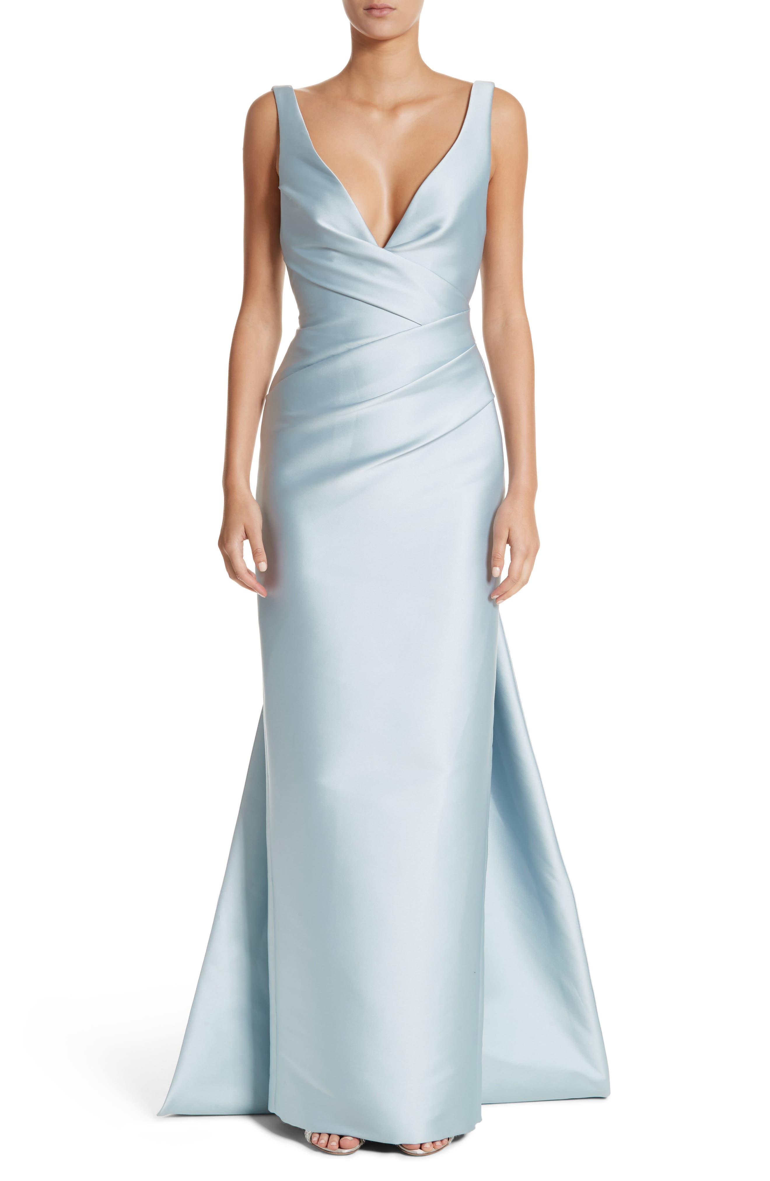 Monique Lhuillier V-Neck Satin Column Gown
