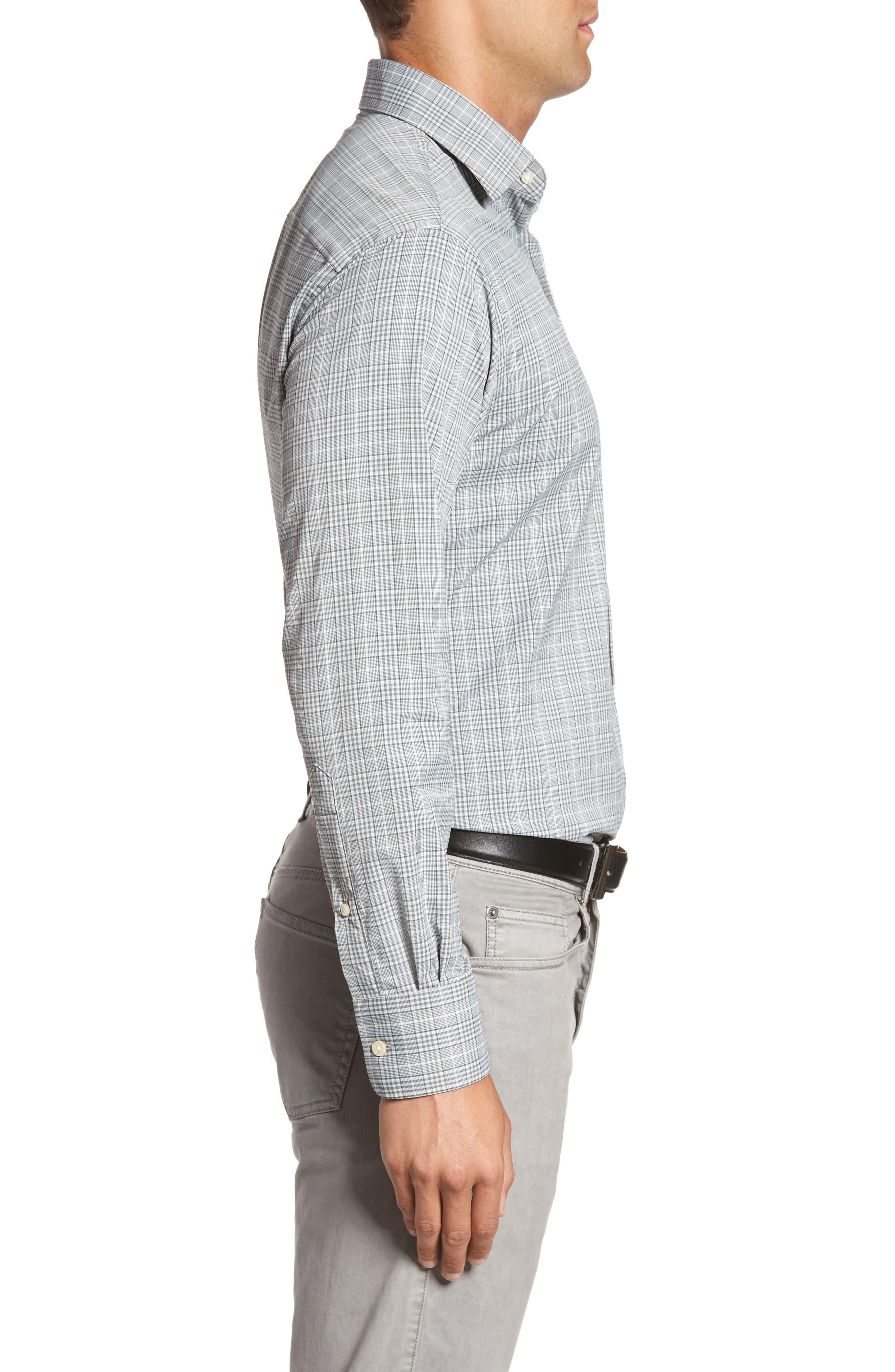 Vedder Gingham Regular Fit Performance Sport Shirt,                             Alternate thumbnail 3, color,                             Smoke