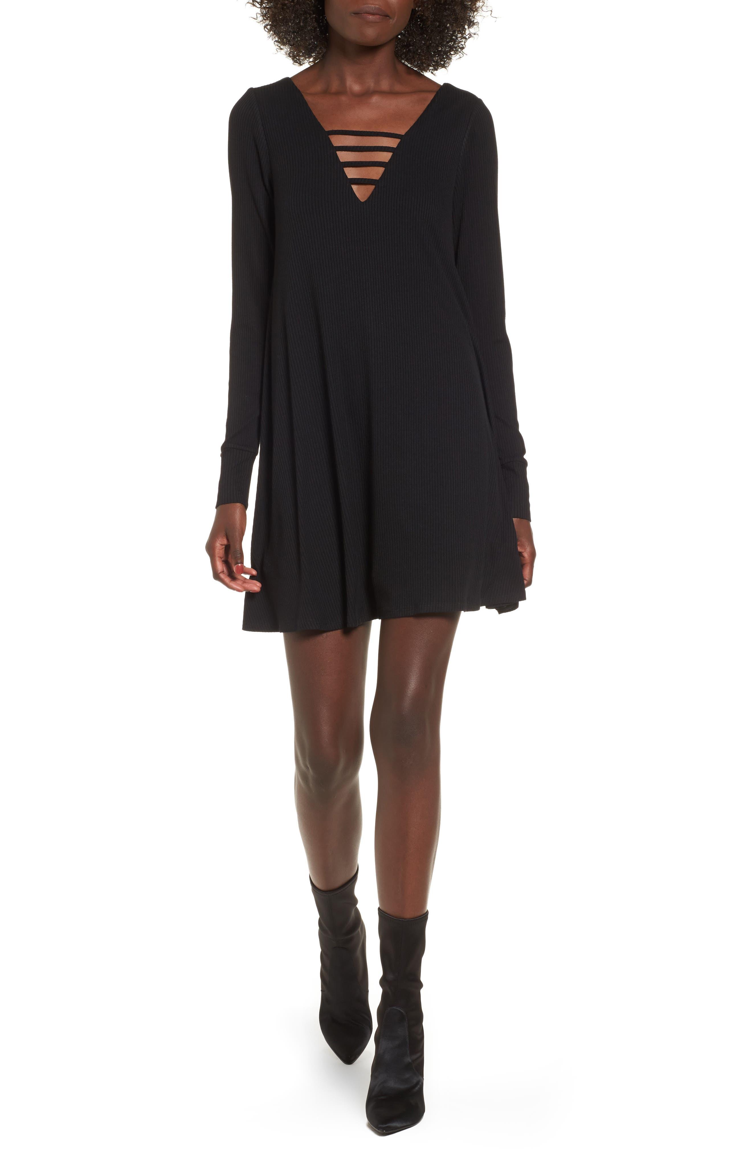Strappy Swing Dress,                         Main,                         color, Black