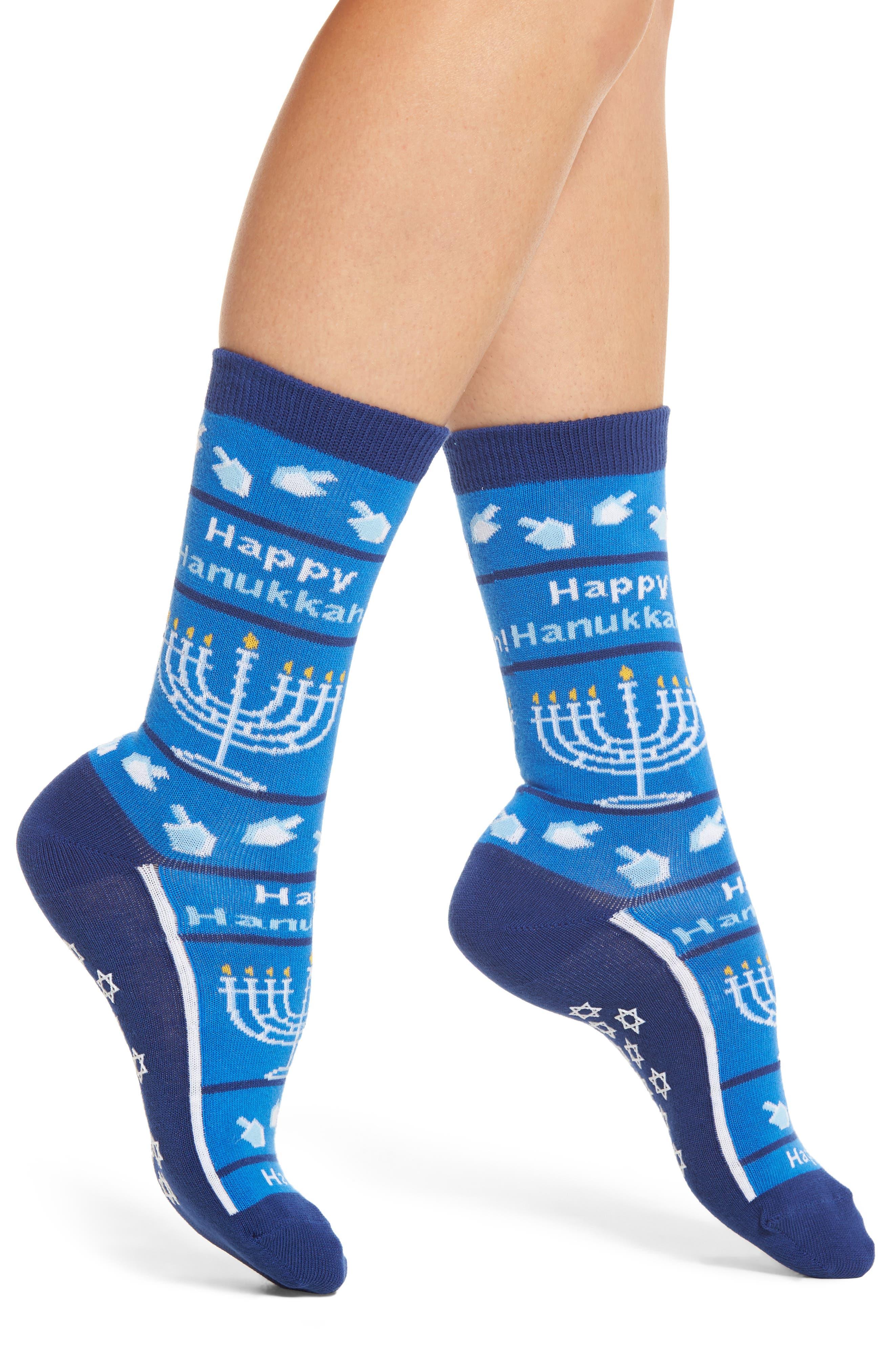 Hot Sox Happy Hanukkah Nonskid Socks (3 for $15)
