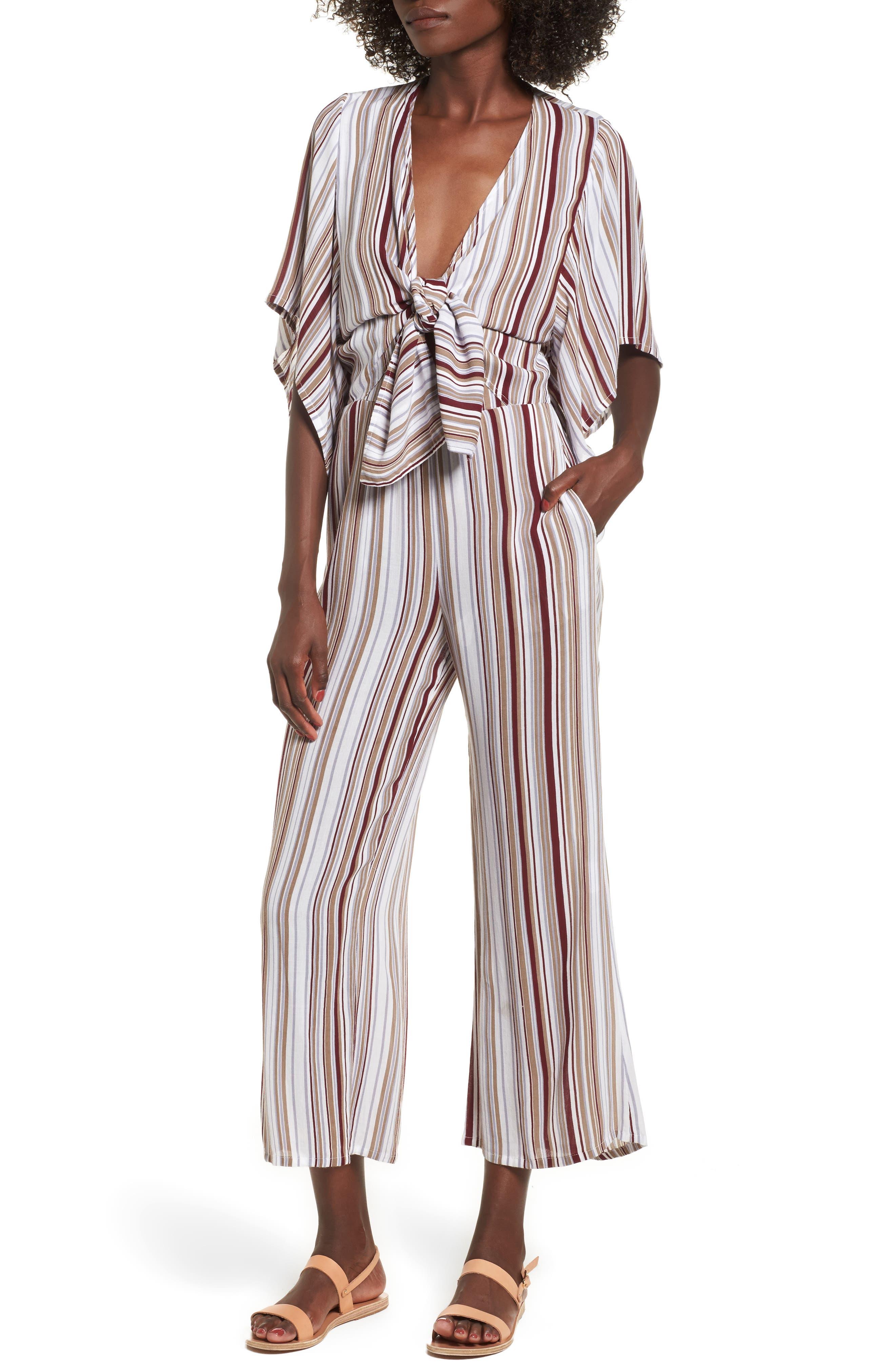 Main Image - FAITHFULL THE BRAND Tilos Stripe Knotted Jumpsuit
