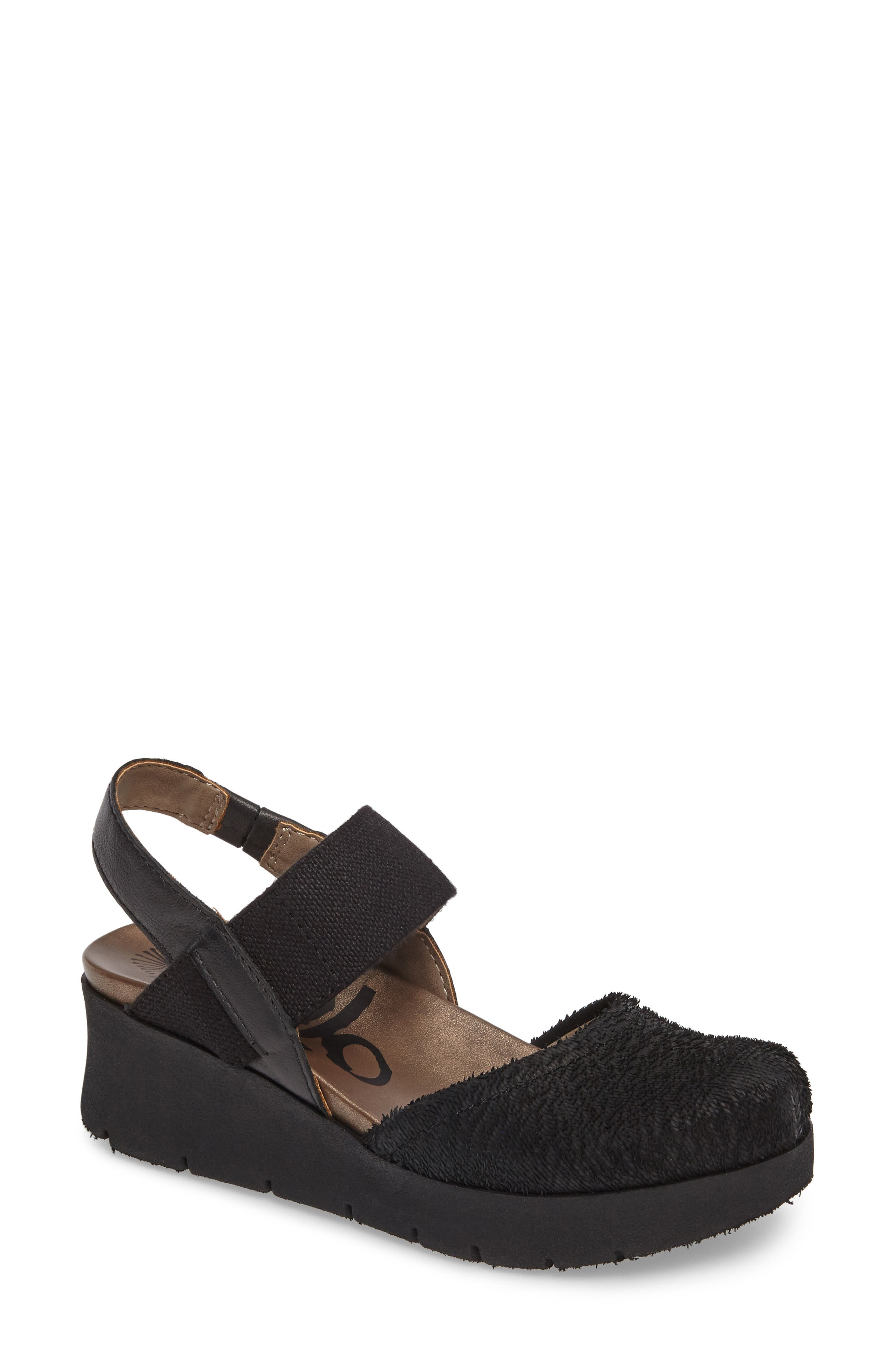 Roadie Mary Jane Platform Wedge,                             Main thumbnail 1, color,                             Black Leather