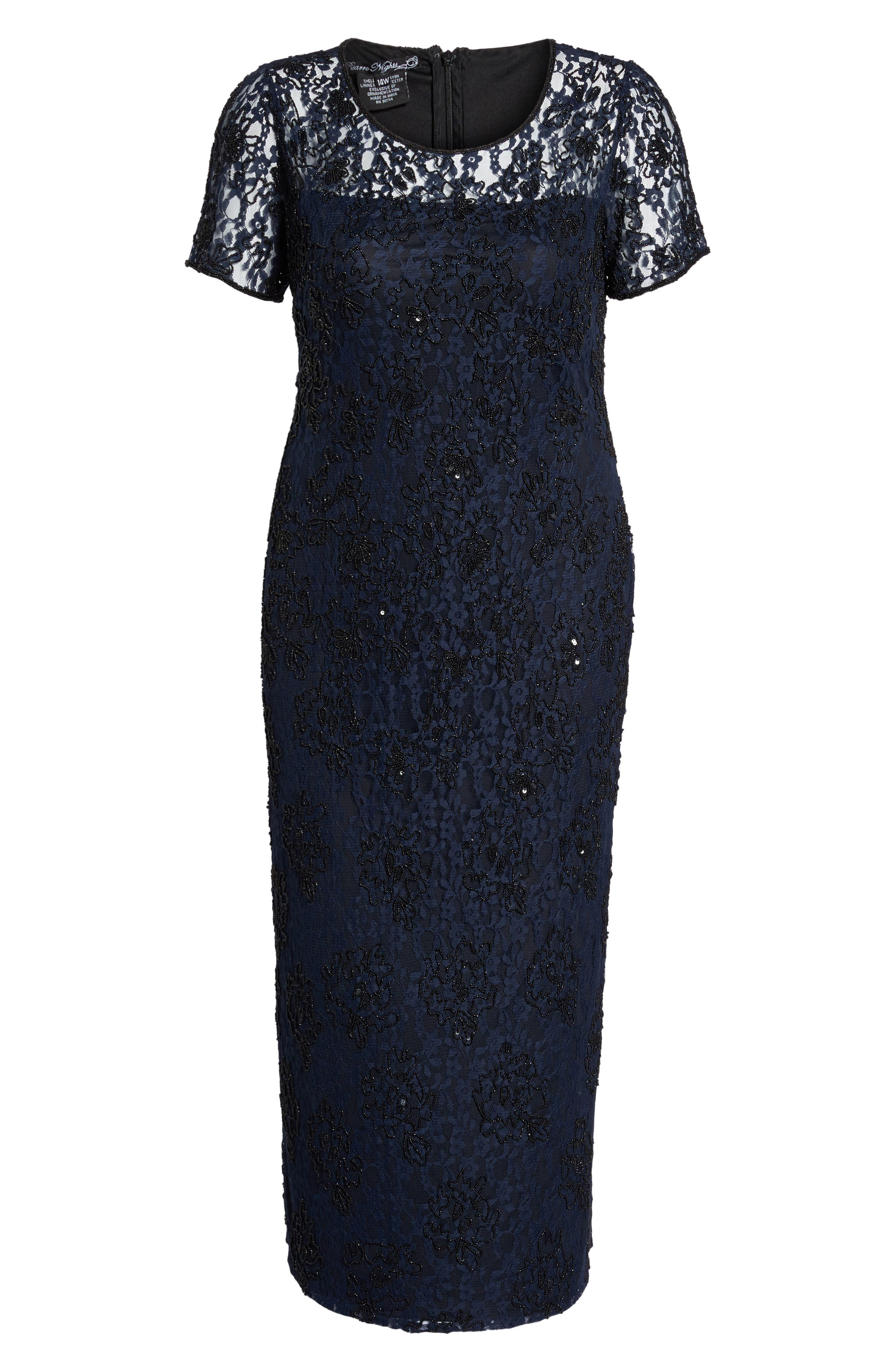 Alternate Image 6  - Pisarro Nights Beaded Lace Gown (Plus Size)