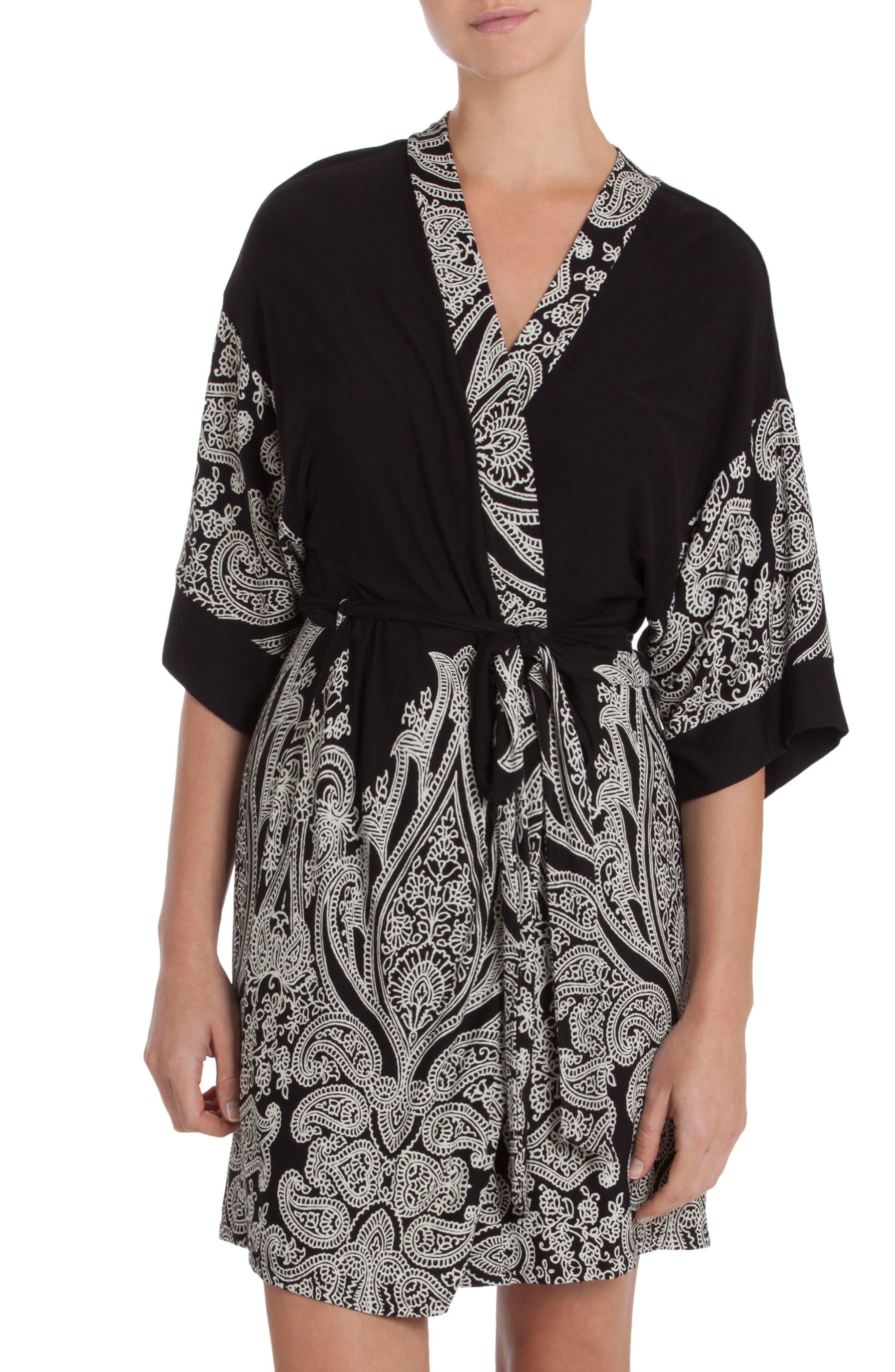 Robe,                         Main,                         color, Black/ Ivory Print