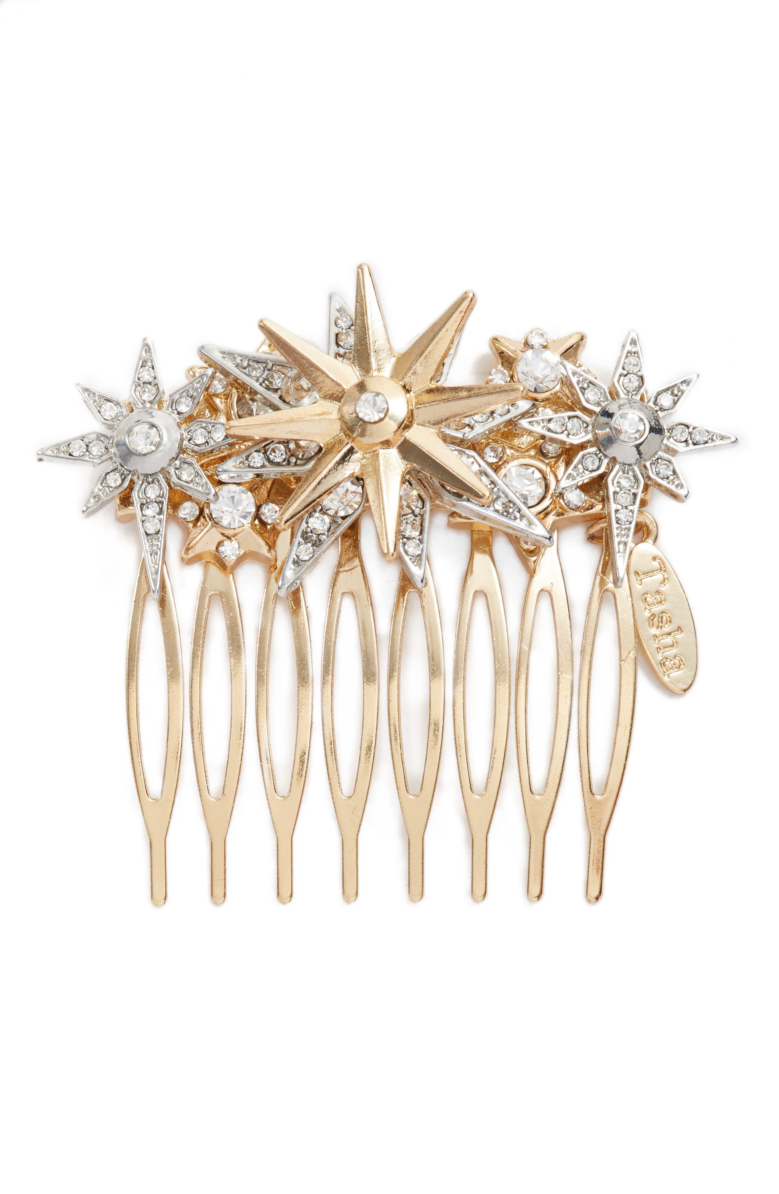 Star Crystal Hair Comb,                         Main,                         color, Gold