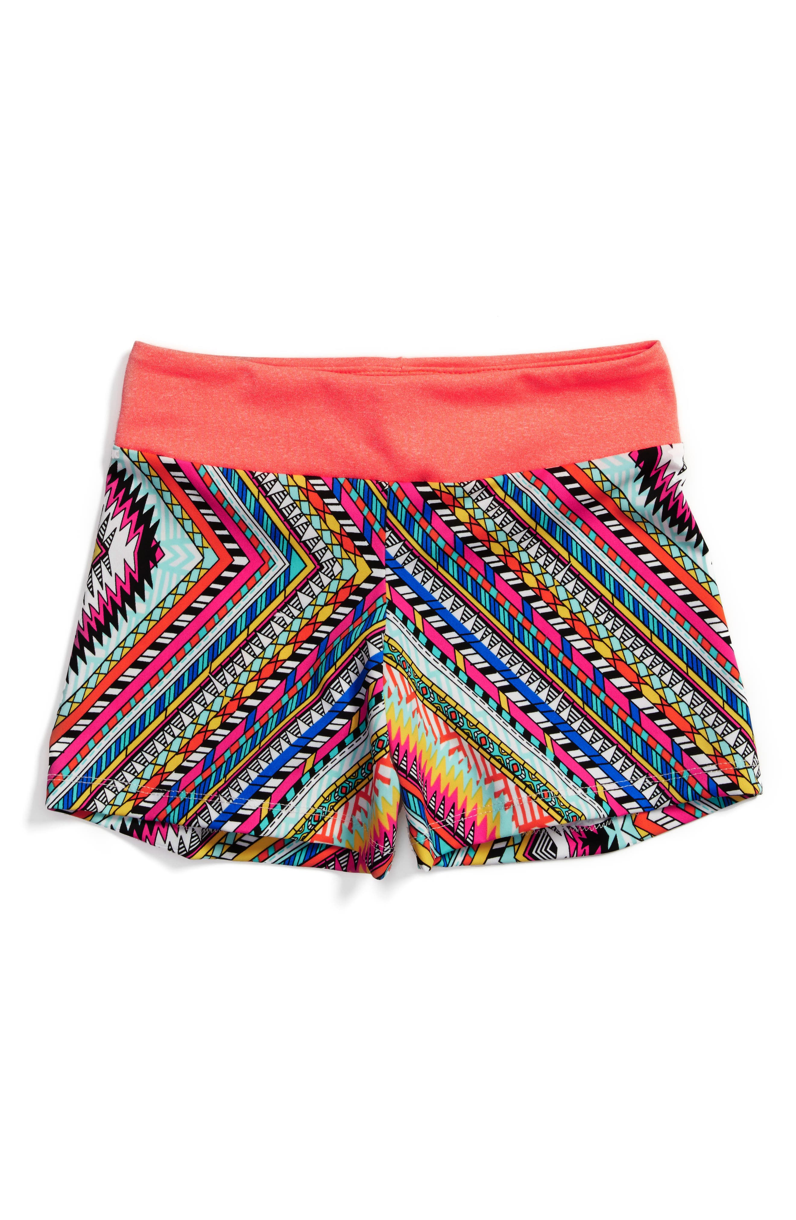 Zigzag Stretch Shorts,                             Main thumbnail 1, color,                             Coral Multi
