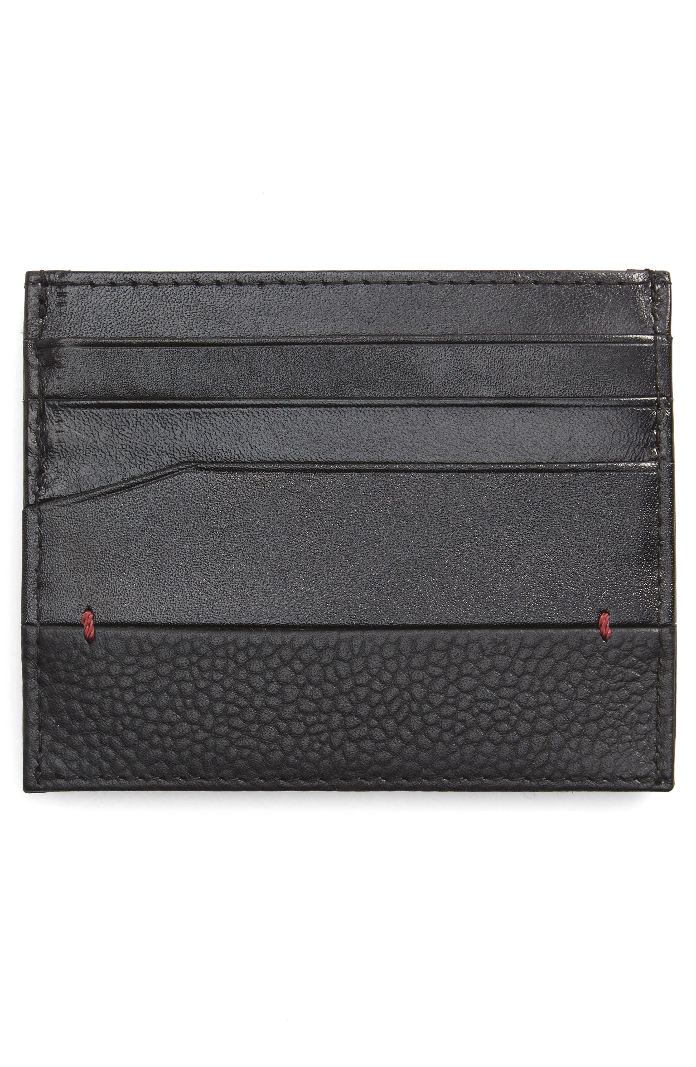 Slippry Leather Card Case,                             Alternate thumbnail 2, color,                             Black