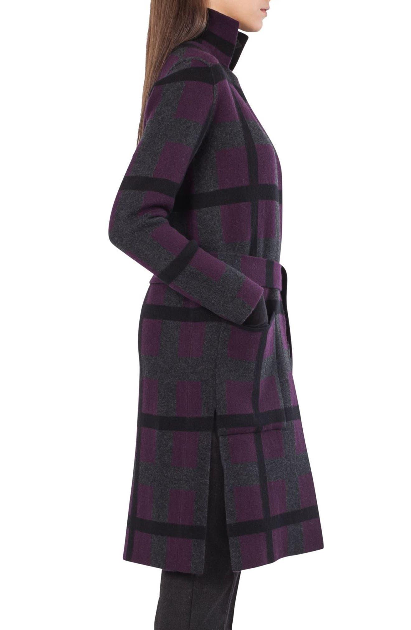 Reversible Double Face Cashmere Coat,                             Alternate thumbnail 4, color,                             Purple/ Black