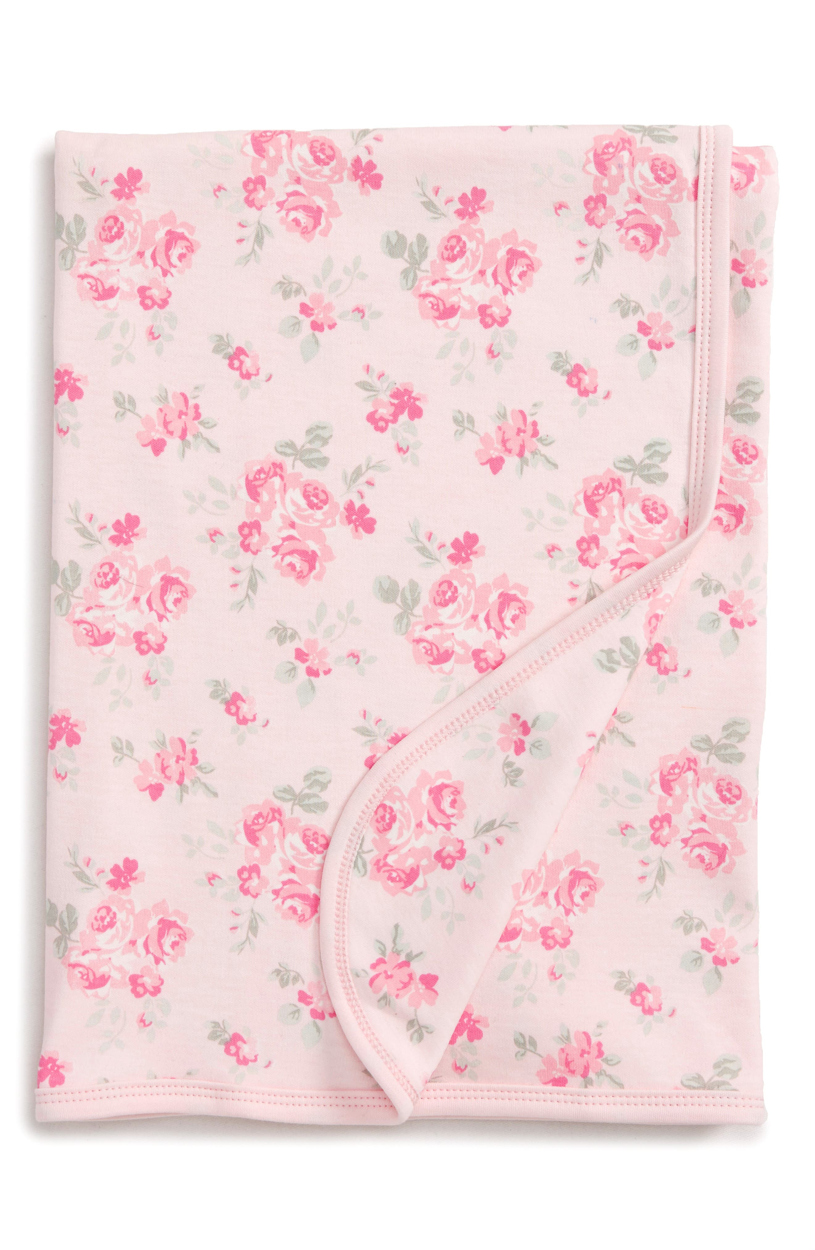 Pink Rose Receiving Blanket,                         Main,                         color, Pink Floral