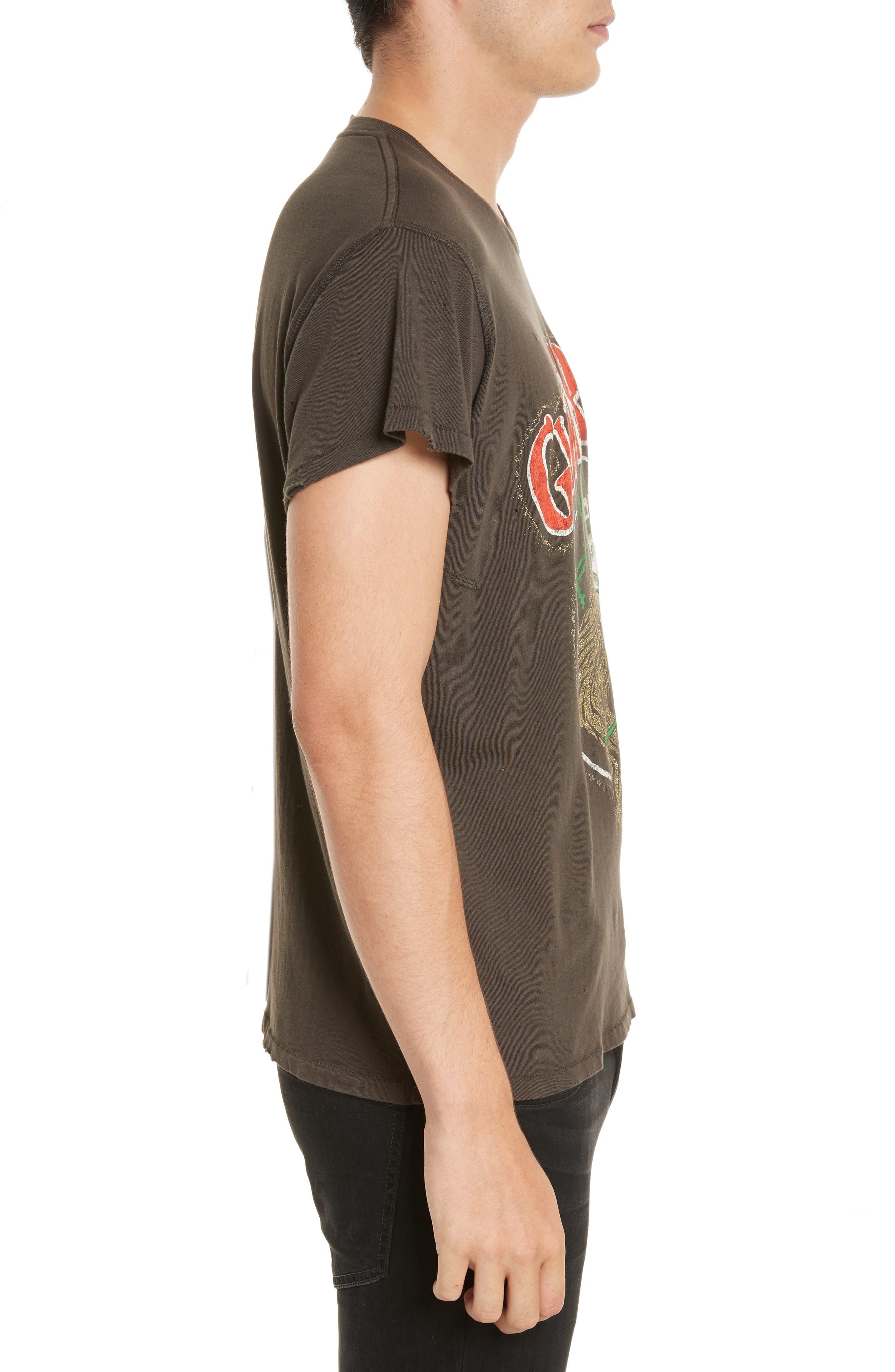 Guns N Roses Glitter Graphic T-Shirt,                             Alternate thumbnail 3, color,                             Dirty Black