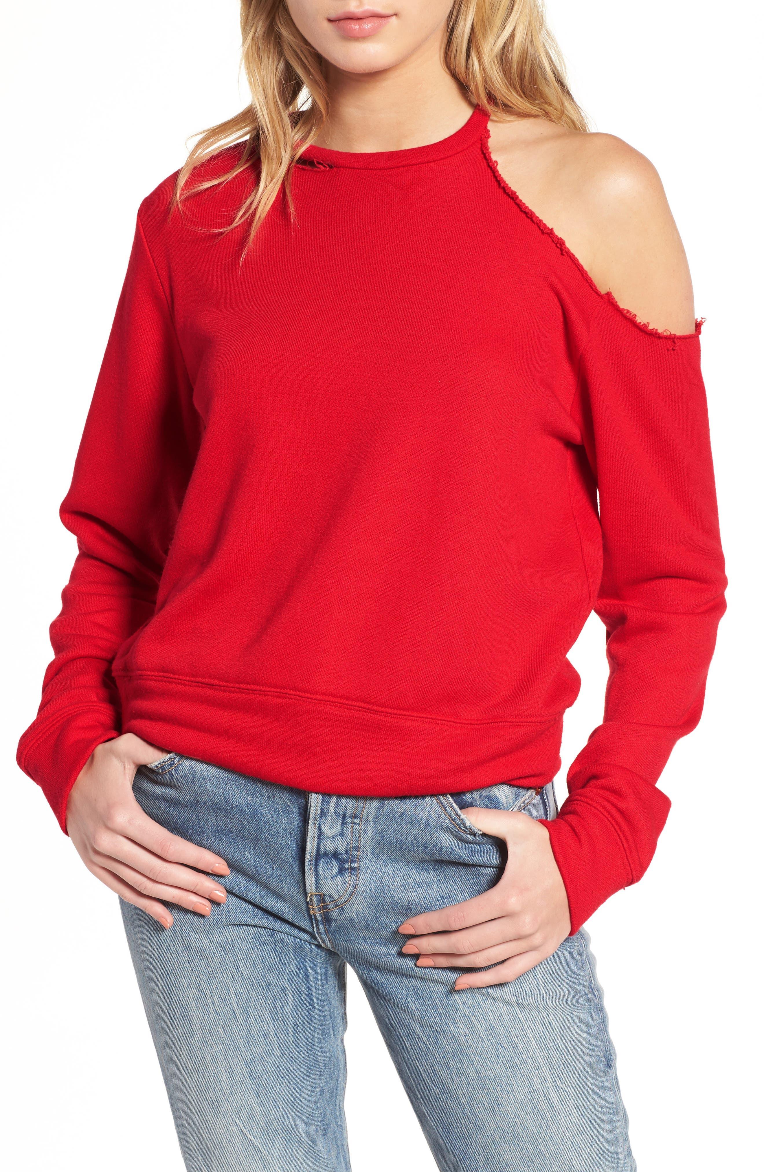 Mikko Distressed Cold Shoulder Sweatshirt,                         Main,                         color, Red