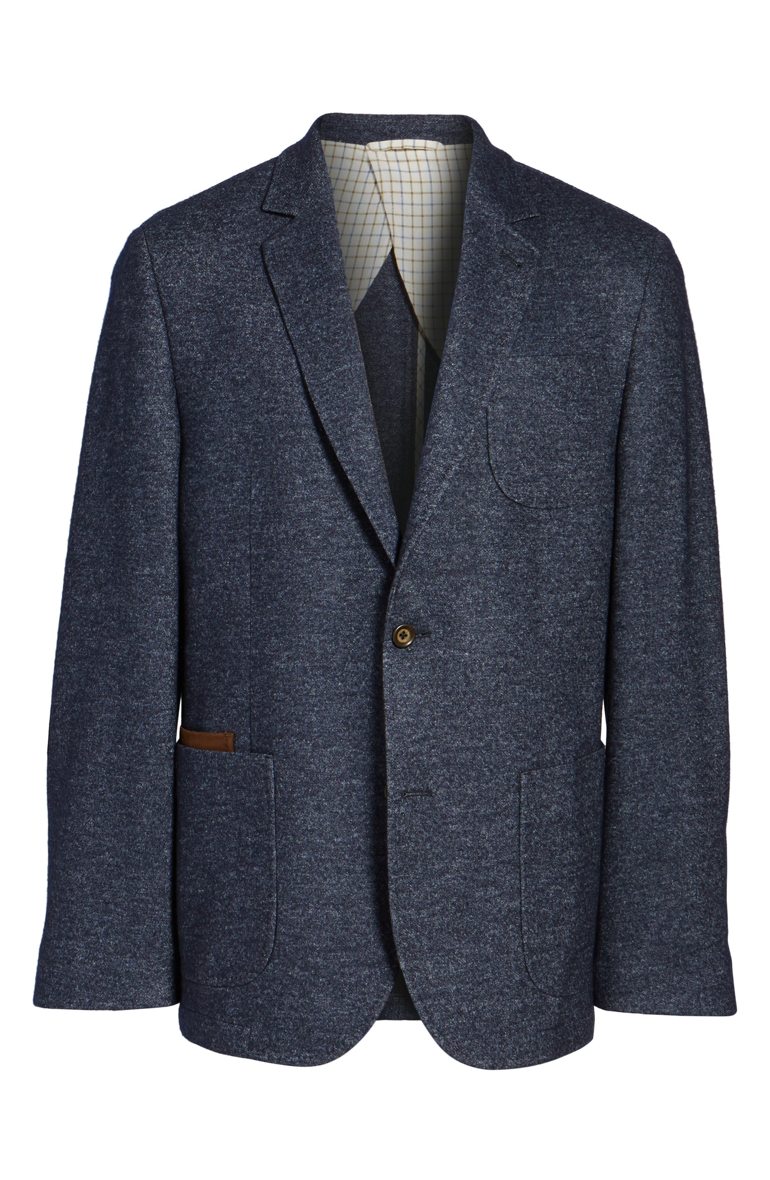 Classic Fit Suede Trim Jersey Sport Coat,                             Alternate thumbnail 6, color,                             Navy