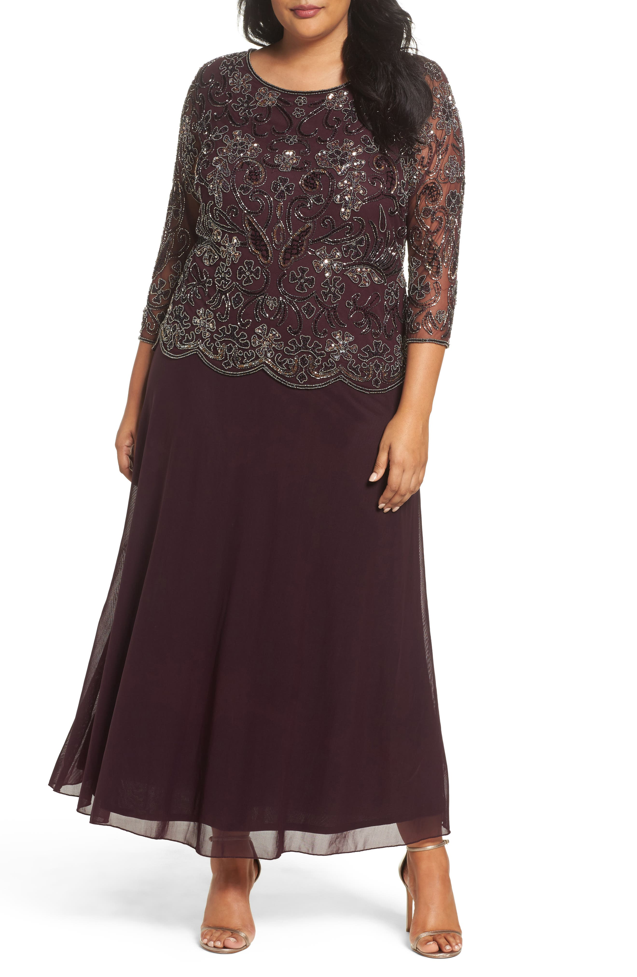 Mock Two-Piece Beaded Gown,                         Main,                         color, Wine